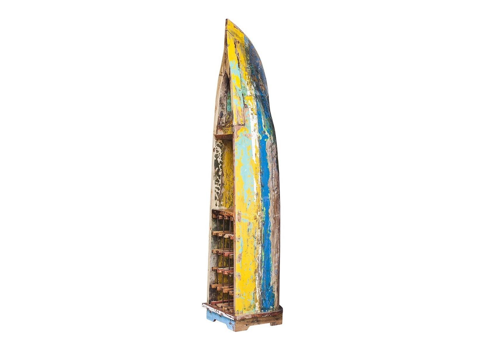 Винный шкаф ВоробейВинные шкафы<br>Винный шкаф, выполненный из старой рыбацкой лодки классической правильной формы с сохранением оригинальной многослойной окраски.<br>Хранит до 15 бутылок. <br>Подходит для использования как внутри помещения, так и снаружи. <br>Сборка не требуется. <br>Покрытие: шеллак <br>Материал: массив тика (махогони, суара)<br><br>Material: Тик<br>Ширина см: 48<br>Высота см: 220<br>Глубина см: 50