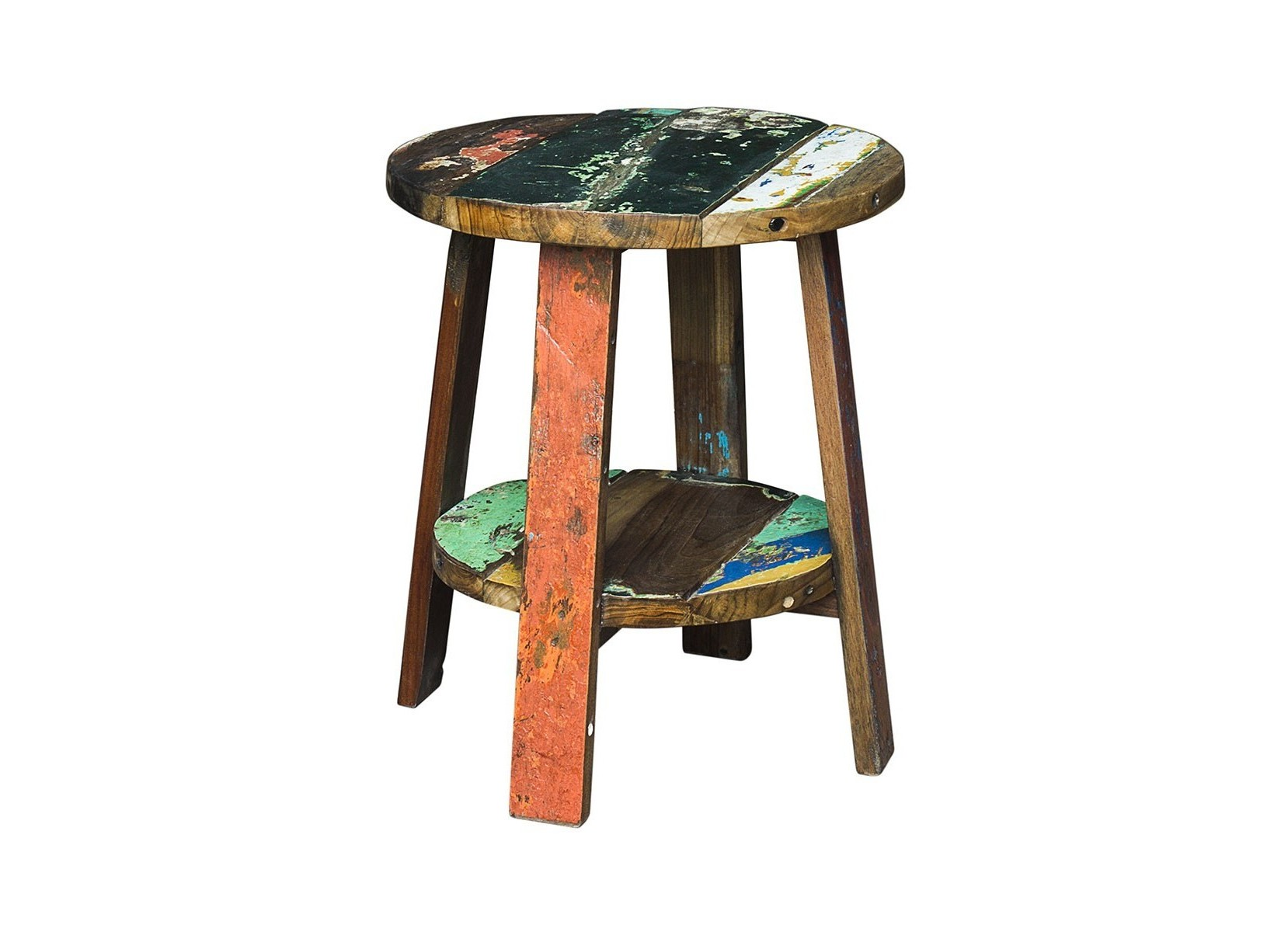 Тумба/табурет ГандиТабуреты<br>Тумба/табурет, выполненный из массива древесины старого рыбацкого судна, такой как: тик, махогон, суар, с сохранением оригинальной многослойной окраски.<br><br>Компактный размер делает его идеальным для небольших пространств. Универсальная форма позволяет использовать не только как табурет, но и как тумбу, подставку для цветов или ванных принадлежностей.<br>Подходит для использования как внутри помещения, так и снаружи.<br>Сборка не требуется.<br>Страна производитель - Индонезия.<br><br>Material: Тик<br>Ширина см: 45<br>Высота см: 55<br>Глубина см: 45