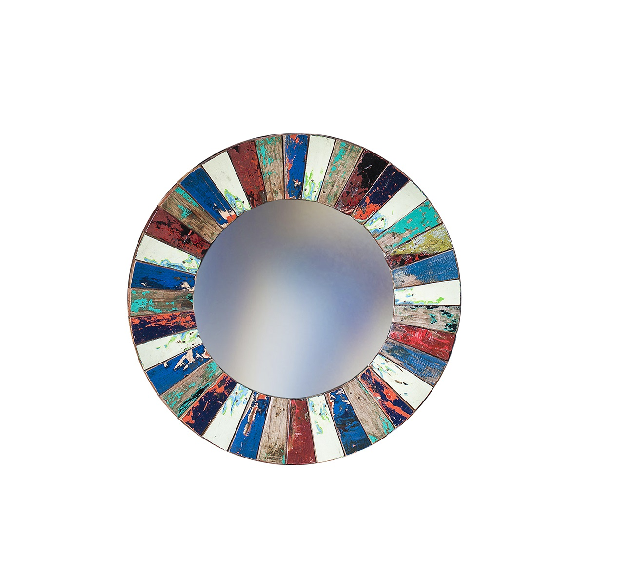 Зеркало КолобокНастенные зеркала<br>Круглое зеркало выполнено из фрагментов настоящего рыболовецкого судна, возраст которого 20-40 лет. Окрас сохранён оригинальный. Диаметр 78 см.<br><br>kit: None<br>gender: None