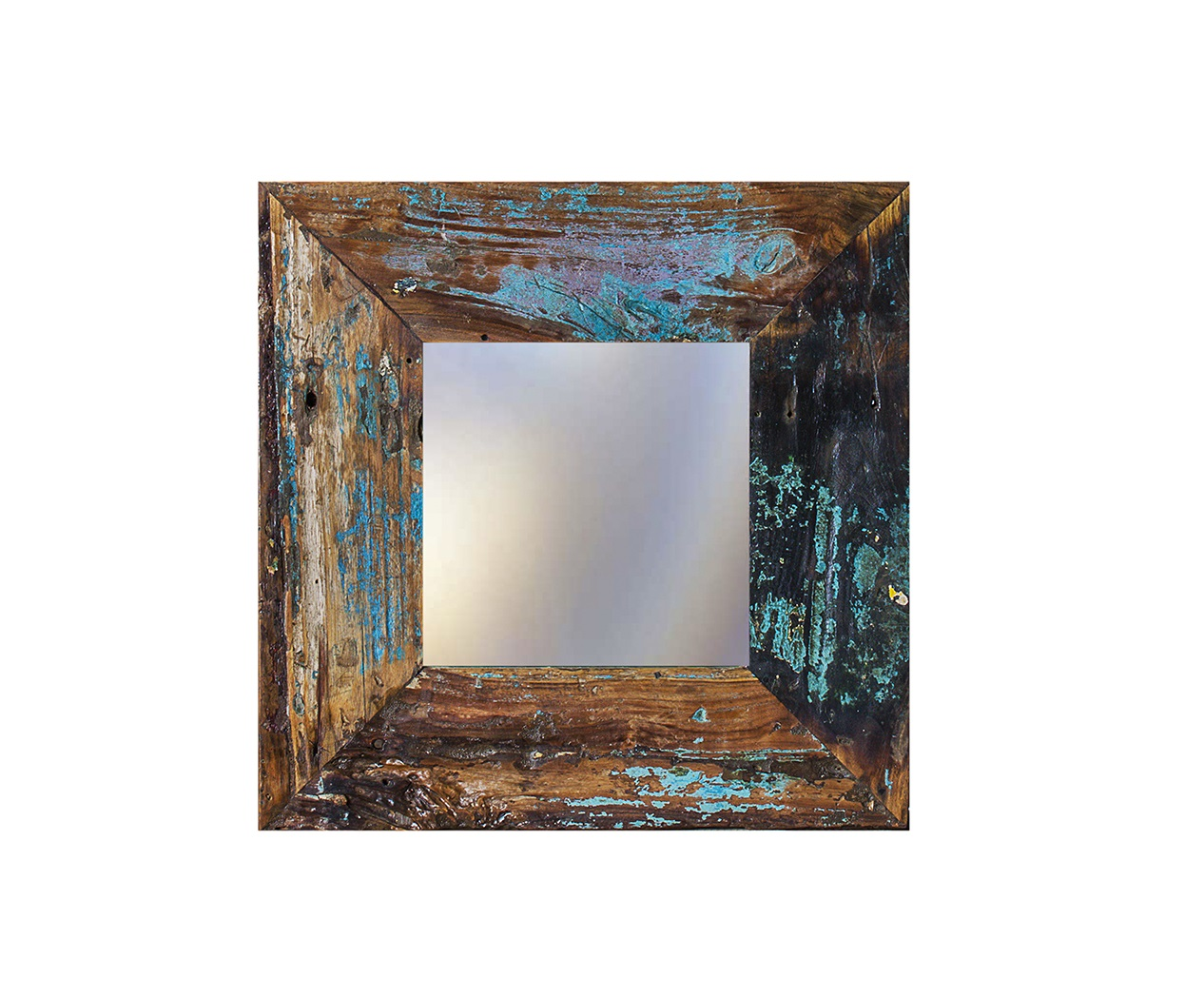 Зеркало Свет мой зеркальцеНастенные зеркала<br>Зеркало выполнено из фрагментов настоящего рыболовецкого судна, возраст которого 20-40 лет. Окрас сохранён оригинальный.<br><br>Material: Тик<br>Ширина см: 60.0<br>Высота см: 60.0<br>Глубина см: 3.0
