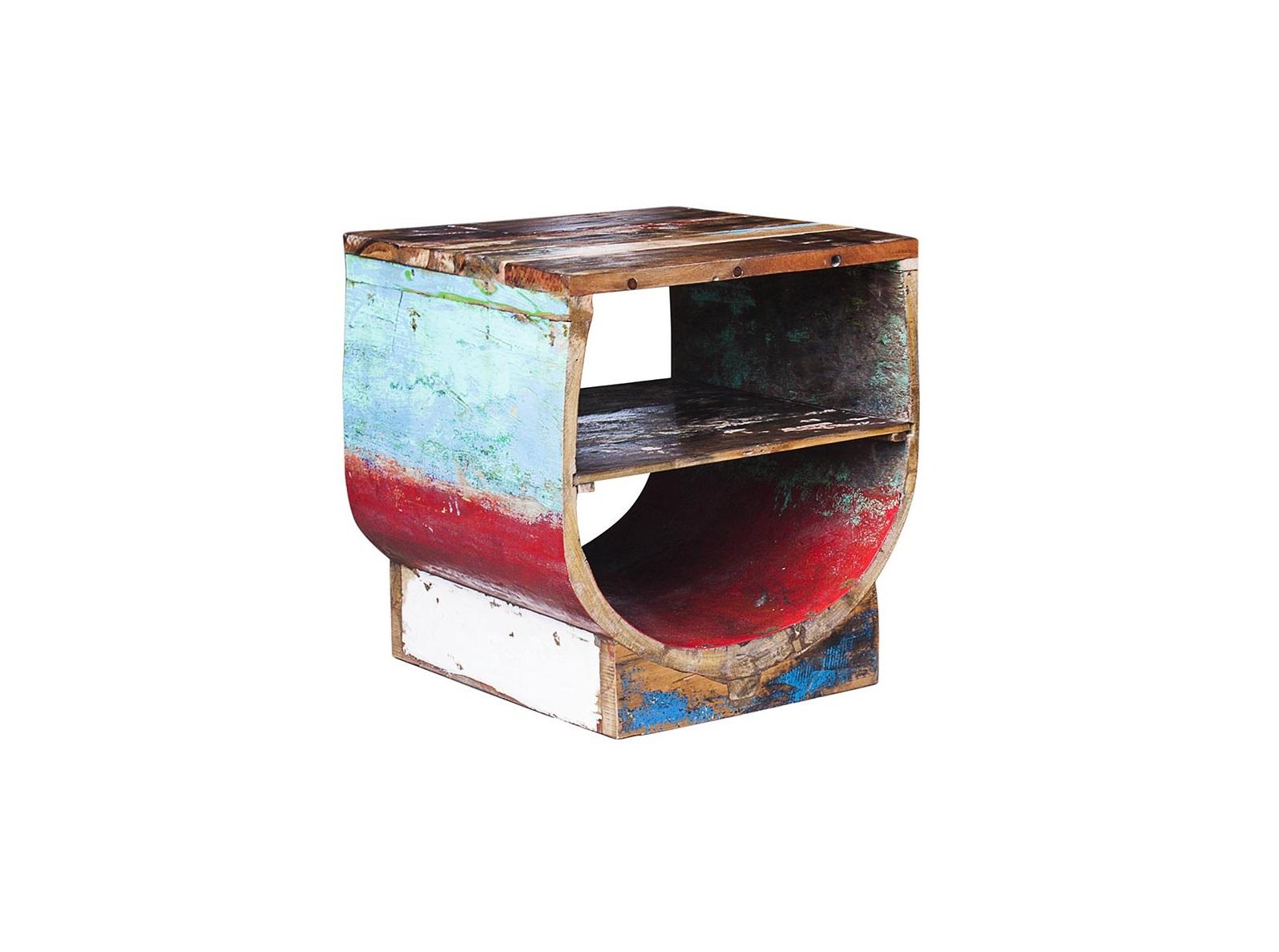 Тумба ЮгПрикроватные тумбы, комоды, столики<br>Тумба, выполненная из старой рыбацкой лодки с сохранением оригинальной многослойной окраски.<br><br>Имеет 2 открытых полки.<br>Подходит для использования как внутри помещения, так и снаружи.<br>Сборка не требуется.<br>Страна производитель - Индонезия.<br><br>Material: Тик<br>Width см: 50<br>Depth см: 51<br>Height см: 52