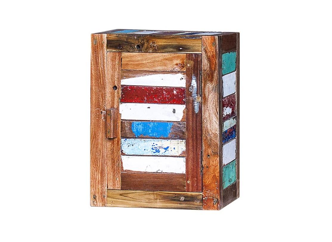 Навесной шкаф БендерПолки<br>Навесной шкаф, выполненный из массива древесины старого рыбацкого судна с сохранением оригинальной многослойной окраски.<br><br>Имеет 2 полки и 1 открывающуюся дверцу, открывающуюся вправо.<br>Подходит для использования как внутри помещения, так и снаружи.<br>Сборка не требуется.<br>Страна производитель - Индонезия.<br><br>Material: Тик<br>Ширина см: 40.0<br>Высота см: 50.0<br>Глубина см: 20.0