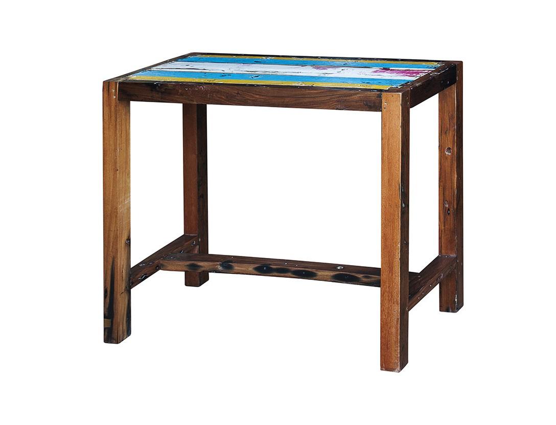 Барный стол БарниБарные столы<br>Стол прямоугольный барный. Выполнен из массива древесины старого рыбацкого судна с сохранением оригинальной многослойной окраски.<br>Подходит для использования как внутри помещения, так и снаружи.<br>Сборка не требуется.<br>Страна производитель - Индонезия.<br><br>Material: Тик<br>Ширина см: 130<br>Высота см: 110<br>Глубина см: 60