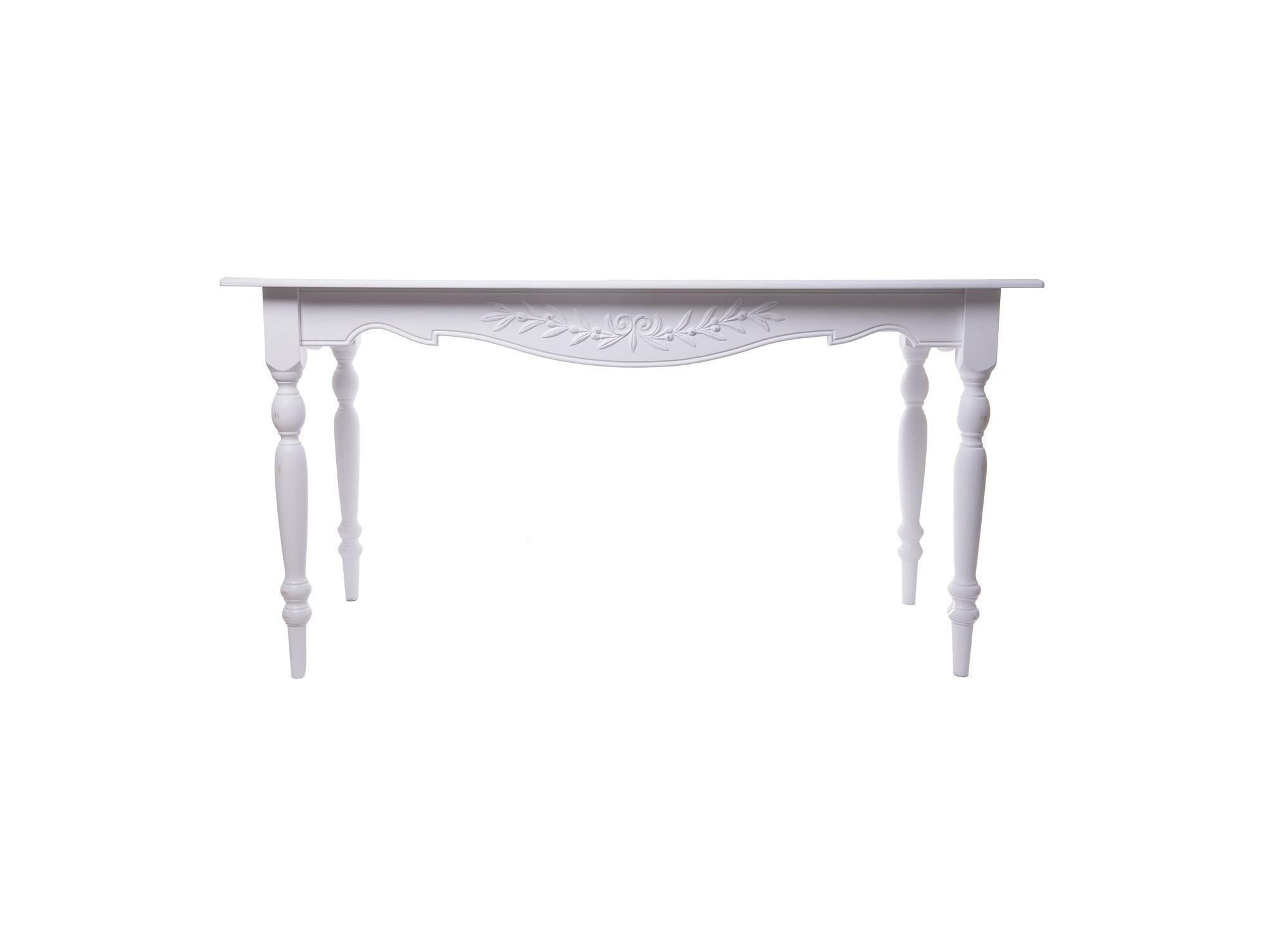 Стол Снежный ПровансОбеденные столы<br>Коллекция изготовлена из массива бука (каркасы и точеные элементы мебели) и из высококачественного МДФ (филенчатые части) и соответствует немецким стандартам для детской мебели.<br>Мебель &amp;quot;Снежный Прованс&amp;quot; имеет плавные изогнутые формы и украшена потертым вручную декором в виде оливковой ветви.&amp;amp;nbsp;<br><br>Material: Бук<br>Ширина см: 150<br>Высота см: 78<br>Глубина см: 70