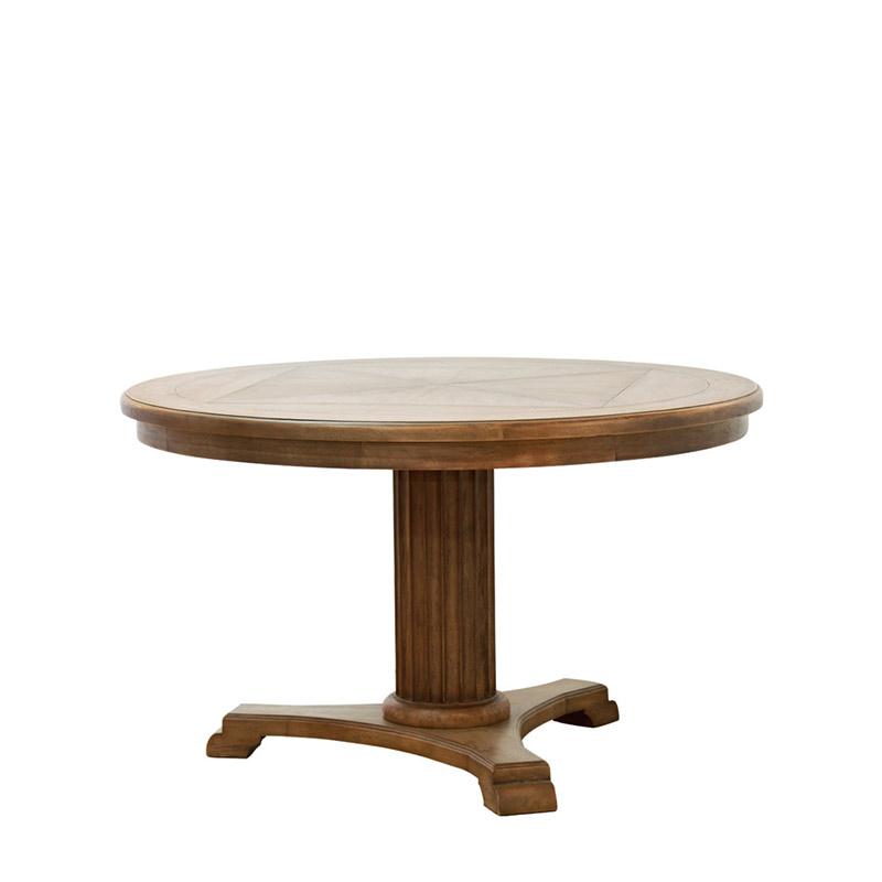 Обеденный стол Lardy Dining TableОбеденные столы<br>&amp;amp;nbsp;Столешница круглой формы венчает массивное основание в форме колонны, которое поддерживает треножный постамент.<br><br>Material: Дерево<br>Length см: None<br>Width см: None<br>Depth см: None<br>Height см: 78<br>Diameter см: 130