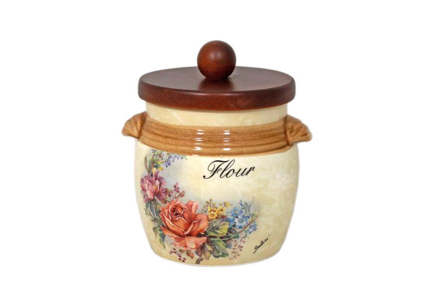 Банка для сыпучих продуктов с деревянной крышкой ЭлиантоЕмкости для хранения<br>Объем: 0,75 л.<br><br>Material: Керамика