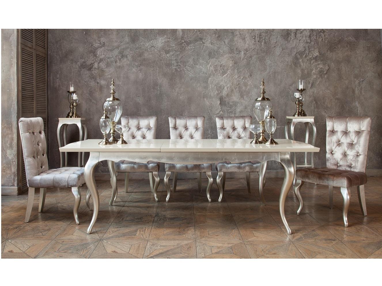 Раздвижной стол VeneziaОбеденные столы<br>Отделка столешницы перламутровый кремовый лак.&amp;amp;nbsp;&amp;lt;div&amp;gt;Высокие гнутые ножки в отделке сусальное серебро.&amp;amp;nbsp;&amp;lt;/div&amp;gt;&amp;lt;div&amp;gt;Сделан из высококачественного МДФ высокой плотности и массива дерева.&amp;lt;/div&amp;gt;&amp;lt;div&amp;gt;&amp;lt;br&amp;gt;&amp;lt;/div&amp;gt;&amp;lt;div&amp;gt;Ширина в сложенном состоянии - 180 см&amp;lt;/div&amp;gt;&amp;lt;div&amp;gt;Ширина в разложенном состоянии - 240 см&amp;lt;/div&amp;gt;<br><br>Material: Дерево<br>Ширина см: 240<br>Высота см: 76<br>Глубина см: 108