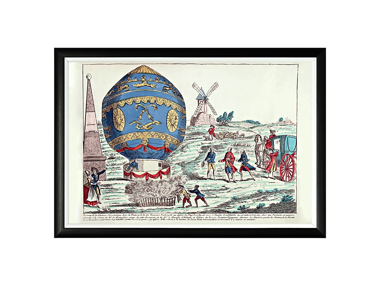 Картина «Монгольфье, 21 ноября 1783»Картины<br>Арт-постер «Монгольфье, 21 ноября 1783» воспроизводит исторический рисунок XVIII века, запечатлевший приземление первого воздушного шара братьев Монгольфье с людьми на борту. Четкая геометрическая форма и строгий цвет рамы - секрет гармонии арт-постеров с современными интерьерами, насыщенными цифровой техникой и модными гаджетами. Белая внутренняя кайма рамы внушает портрету особую выразительность. Изображение защищено стеклопластиком, стойким к микроцарапинам и помутнению.<br><br>Material: Бумага<br>Ширина см: 66<br>Высота см: 45<br>Глубина см: 2