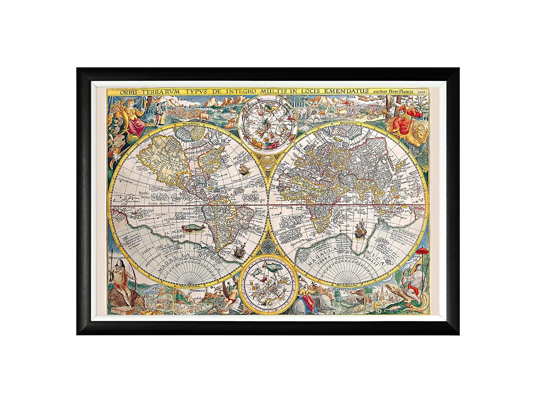 Картина «Новая география (1594)»Картины<br>Арт-постер «Новая география (1594)» - репродукция уникальной карты мира, созданной в 1592 году голландским астрономом и картографом Петером Планциусом и ставшей сенсацией XVI века. Престижные интерьеры &amp;quot;хай-тэк&amp;quot;, &amp;quot;лофт&amp;quot;, &amp;quot;индастриал&amp;quot; немыслимы без контрастных интерьерных деталей, разграничивающих атмосферы деловитой прагматичности и безмятежного релакса. Белая внутренняя кайма рамы внушает портрету особую выразительность. Изображение защищено стеклопластиком, стойким к микроцарапинам.<br><br>Material: Бумага<br>Width см: 66<br>Depth см: 2<br>Height см: 45
