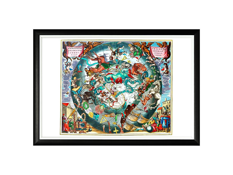 Картина «Карта созвездий южного полушария»Картины<br>Данный арт-постер – репродукция «Карты созвездий южного полушария», составленной в 1660 году голландским и немецким астрономом Андреасом Целлариусом. Четкая геометрическая форма и строгий цвет рамы - секрет гармонии арт-постеров с современными интерьерами, насыщенными цифровой техникой и модными гаджетами. Белая внутренняя кайма рамы внушает портрету особую выразительность. Изображение защищено стеклопластиком, стойким к микроцарапинам и помутнению.<br><br>Material: Бумага<br>Width см: 66<br>Depth см: 2<br>Height см: 45