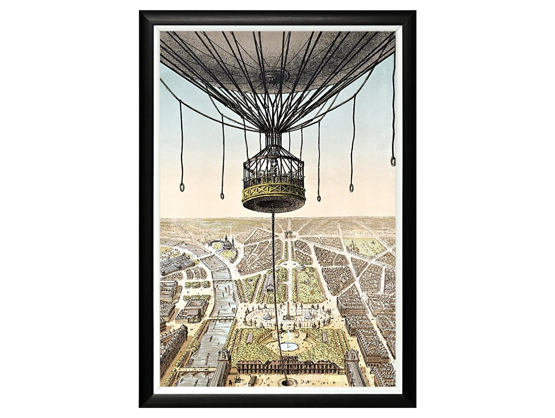 Картина «Париж с высоты птичьего полета»Картины<br>Арт-постер «Париж с высоты птичьего полета» - репродукция идеально сохранившейся литографии. Художник предложил воздушный шар в качестве смотровой площадки. С высоты птичьего полета нам откроется панорама Парижа. Вертикальный постер незаменим для узких пространств, простенков между дверьми или окнами. Четкая геометрическая форма и строгий цвет рамы - секрет гармонии арт-постеров с современными интерьерами, насыщенными цифровой техникой и модными гаджетами. Изображение защищено стеклопластиком.<br><br>Material: Бумага<br>Width см: 46<br>Depth см: 2<br>Height см: 66<br>Diameter см: None