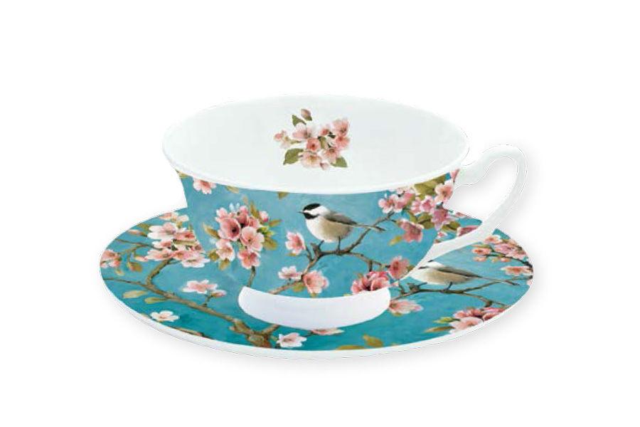 Чашка с блюдцем СакураЧайные пары, чашки и кружки<br>Объем: 0,18 л.<br><br>Material: Фарфор