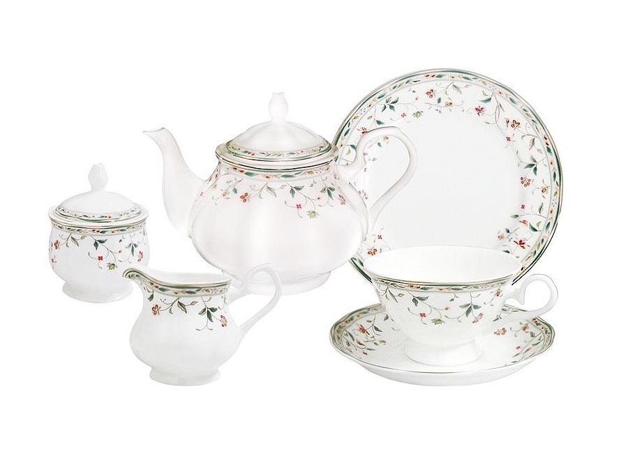 Чайный сервиз Флориана 21 предмет на 6 персонЧайные сервизы<br>В комплект входят: 6 десерт тарелок 18 см; 6 чашек 0,2л; сливочник 0,3л; чайник 0,9 л, сахарница 0,35 л.<br><br>Material: Фарфор