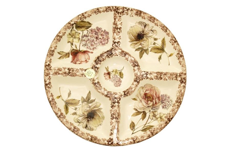 Круглая менажница Сады ФлоренцииДекоративные блюда<br><br><br>Material: Керамика<br>Height см: 3.5<br>Diameter см: 36.5