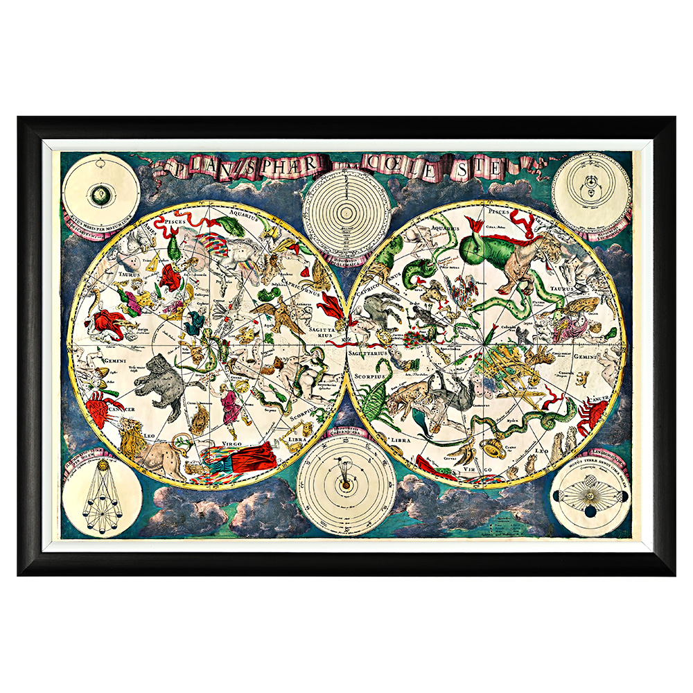 Картина «Небесная карта созвездий (1680)»Картины<br>Арт-постер «Небесная карта созвездий» - репродукция занимательной небесной карты созвездий, созданной в 1680 году голландским картографом и художником Фредериком де Витом. На картах де Вита созвездия представляются нам не формальными символами, а одушевленными фигурками, по котором мы без труда узнаём интересующий знак. Четкая геометрическая форма и строгий цвет рамы - секрет гармонии арт-постеров с современными интерьерами. Изображение защищено стеклопластиком, стойким к царапинам и помутнению.&amp;lt;div&amp;gt;&amp;lt;br&amp;gt;&amp;lt;/div&amp;gt;&amp;lt;div&amp;gt;Материал: рама - багет из полистирола, защитный слой - прозрачный пластик, изображение – дизайнерская бумага.&amp;lt;br&amp;gt;&amp;lt;/div&amp;gt;<br><br>Material: Бумага<br>Ширина см: 66<br>Высота см: 45<br>Глубина см: 2