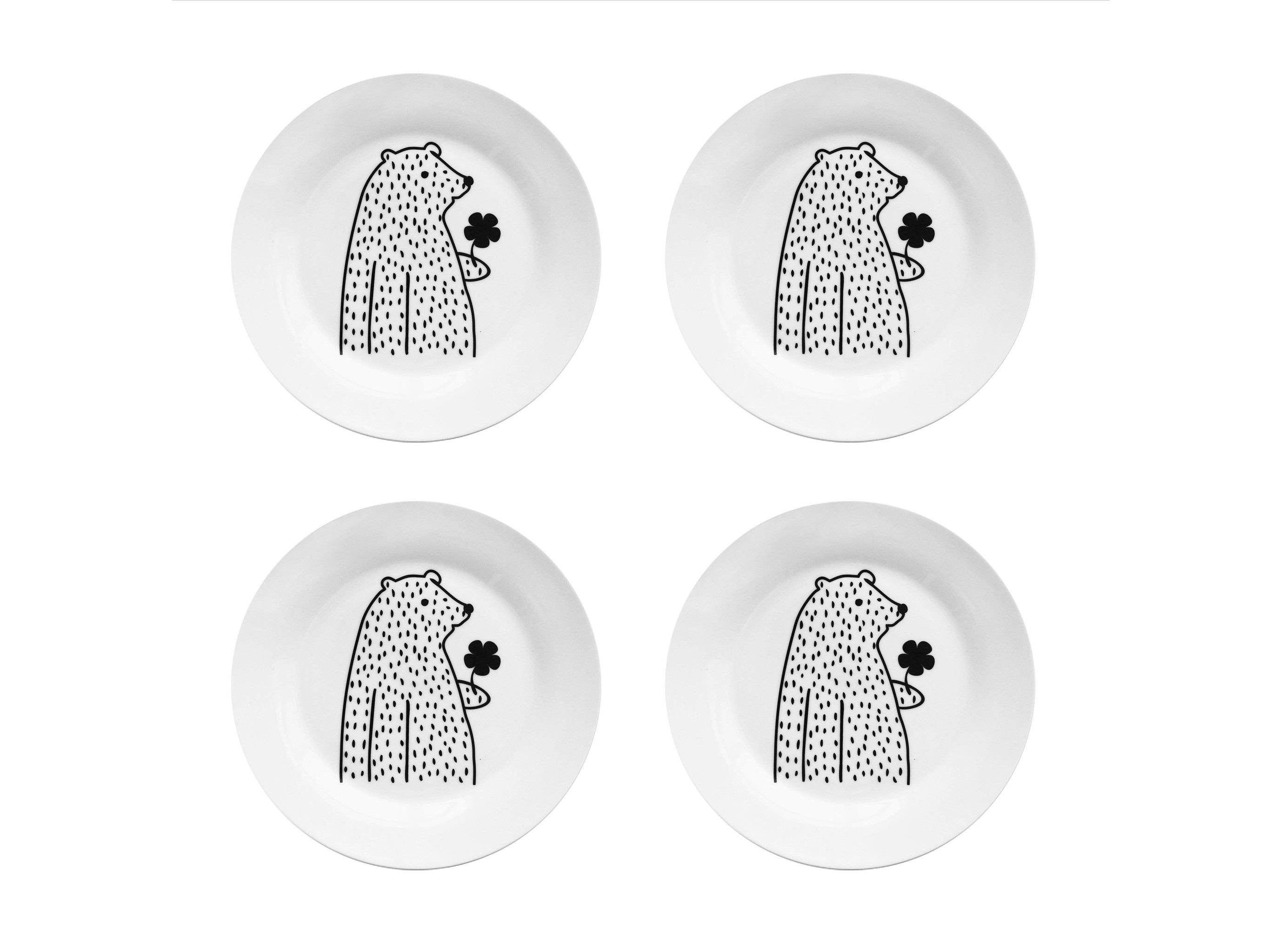 Набор тарелок Цветочный мишка (4 шт)Тарелки<br>Посуду можно использовать в микроволновой печи и посудомоечной машине.&amp;amp;nbsp;&amp;lt;div&amp;gt;В комплект входят: Тарелка 20 см - 4 шт.&amp;lt;/div&amp;gt;<br><br>Material: Фарфор