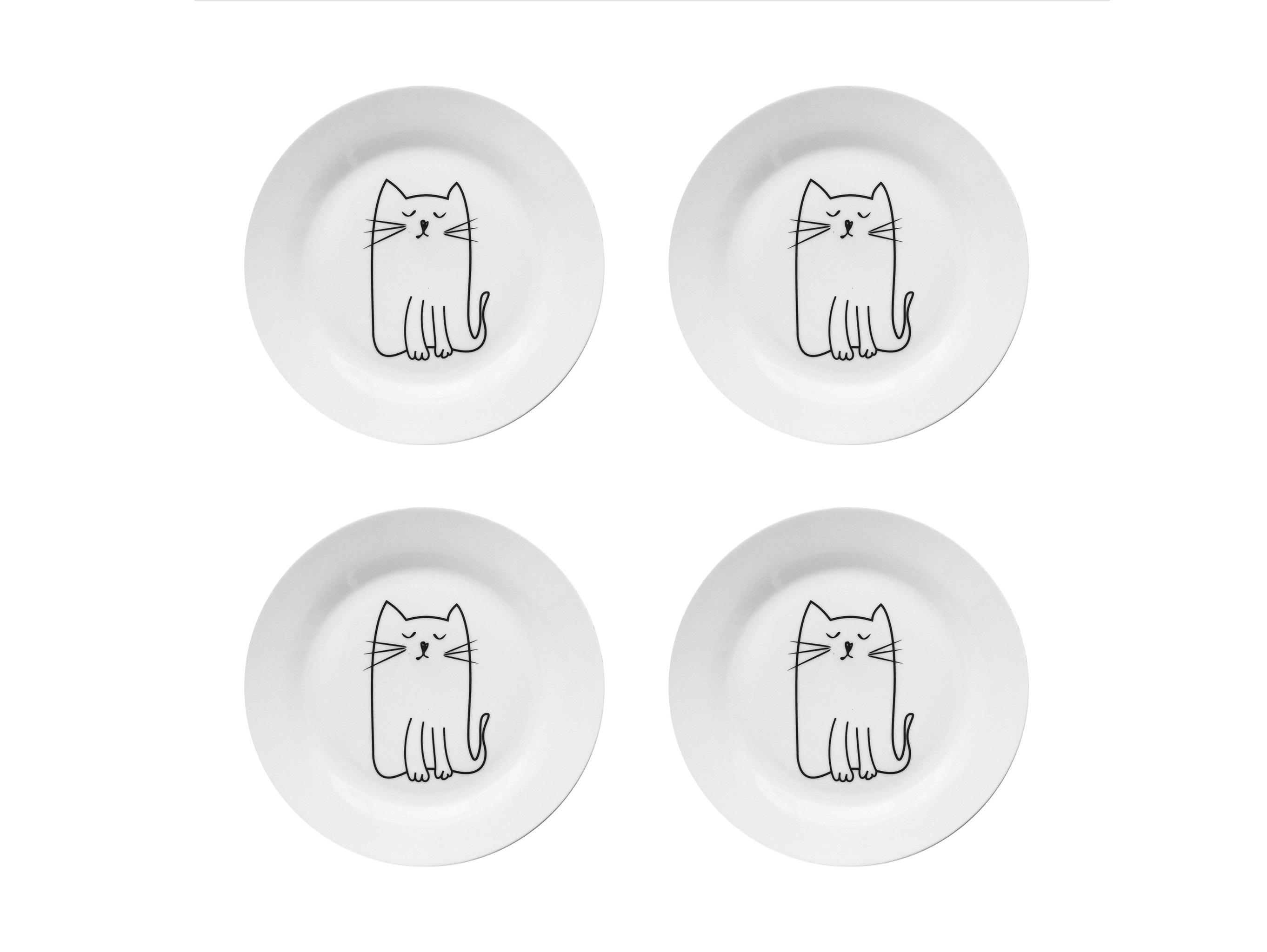 Набор тарелок Киска (4 шт)Тарелки<br>Посуду можно использовать в микроволновой печи и посудомоечной машине.&amp;amp;nbsp;&amp;lt;div&amp;gt;В комплект входят: Тарелка 20 см - 4 шт.&amp;lt;/div&amp;gt;<br><br>Material: Фарфор