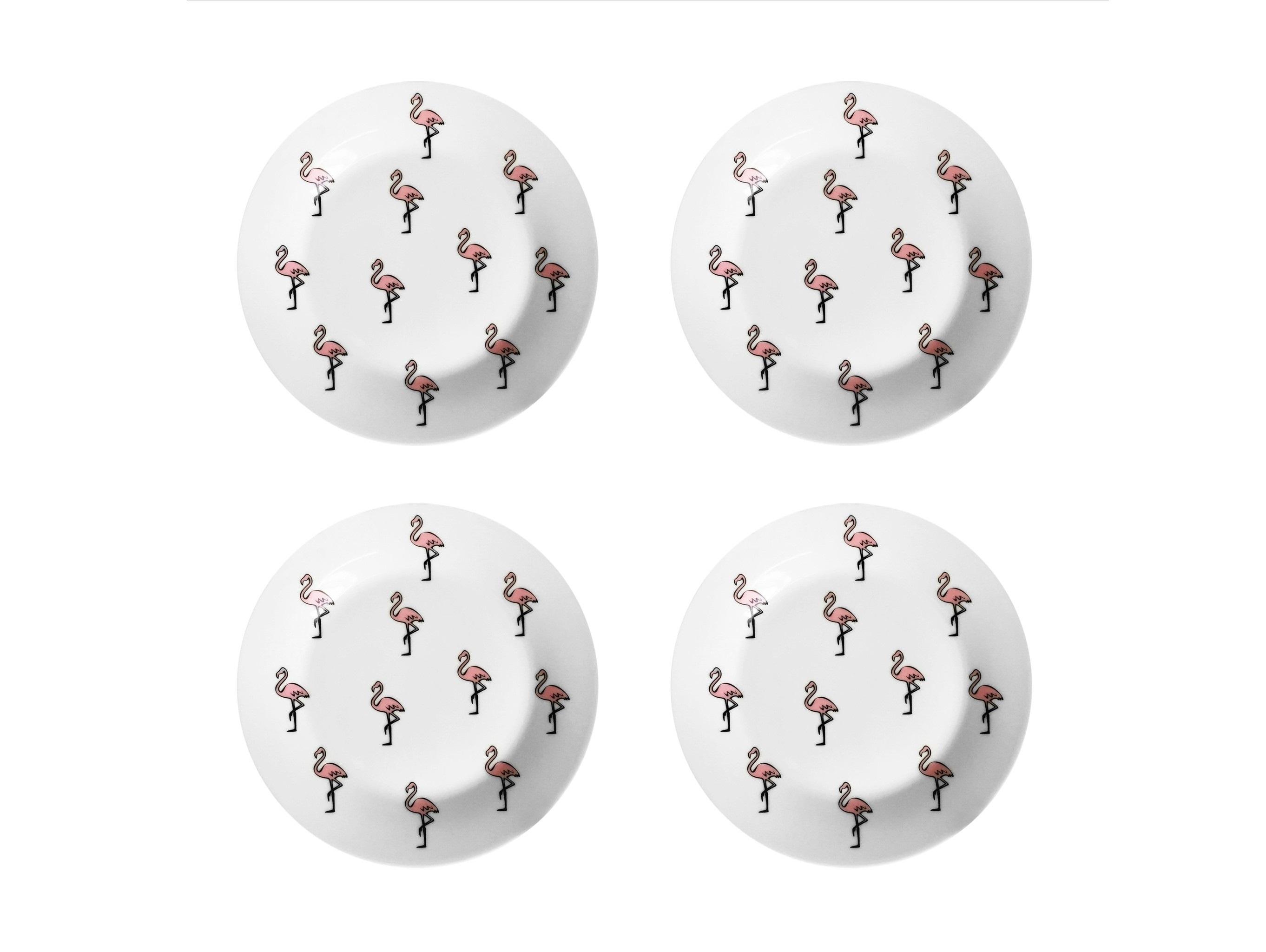 Набор тарелок Розовый фламинго (4 шт)Тарелки<br>Посуду можно использовать в микроволновой печи и посудомоечной машине.&amp;amp;nbsp;&amp;lt;div&amp;gt;В комплект входят: Тарелка 20 см - 4 шт.&amp;lt;/div&amp;gt;<br><br>Material: Фарфор