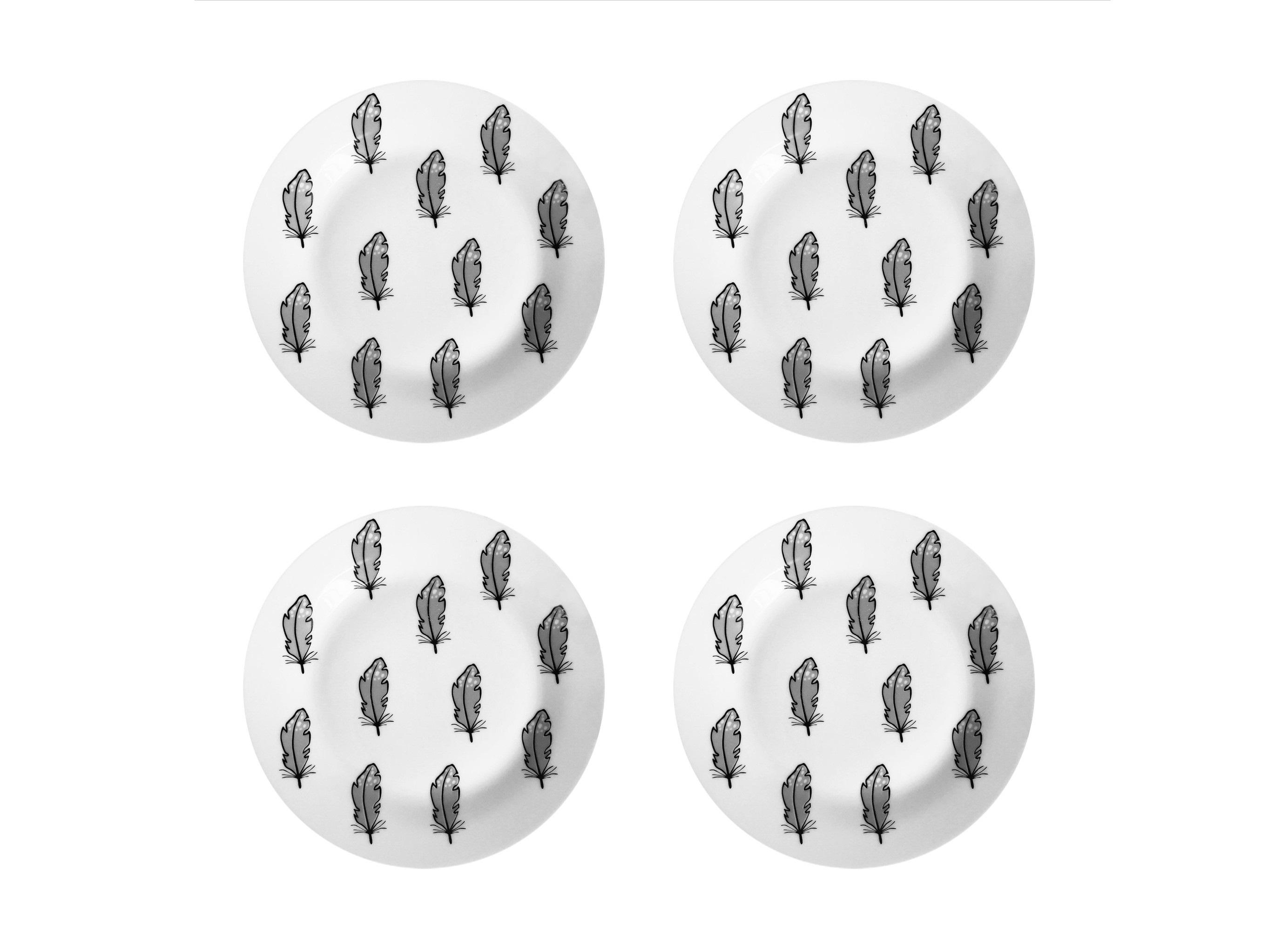 Набор тарелок Перо (4 шт)Тарелки<br>Посуду можно использовать в микроволновой печи и посудомоечной машине.&amp;amp;nbsp;&amp;lt;div&amp;gt;В комплект входят: Тарелка 20 см - 4 шт.&amp;lt;/div&amp;gt;<br><br>Material: Фарфор