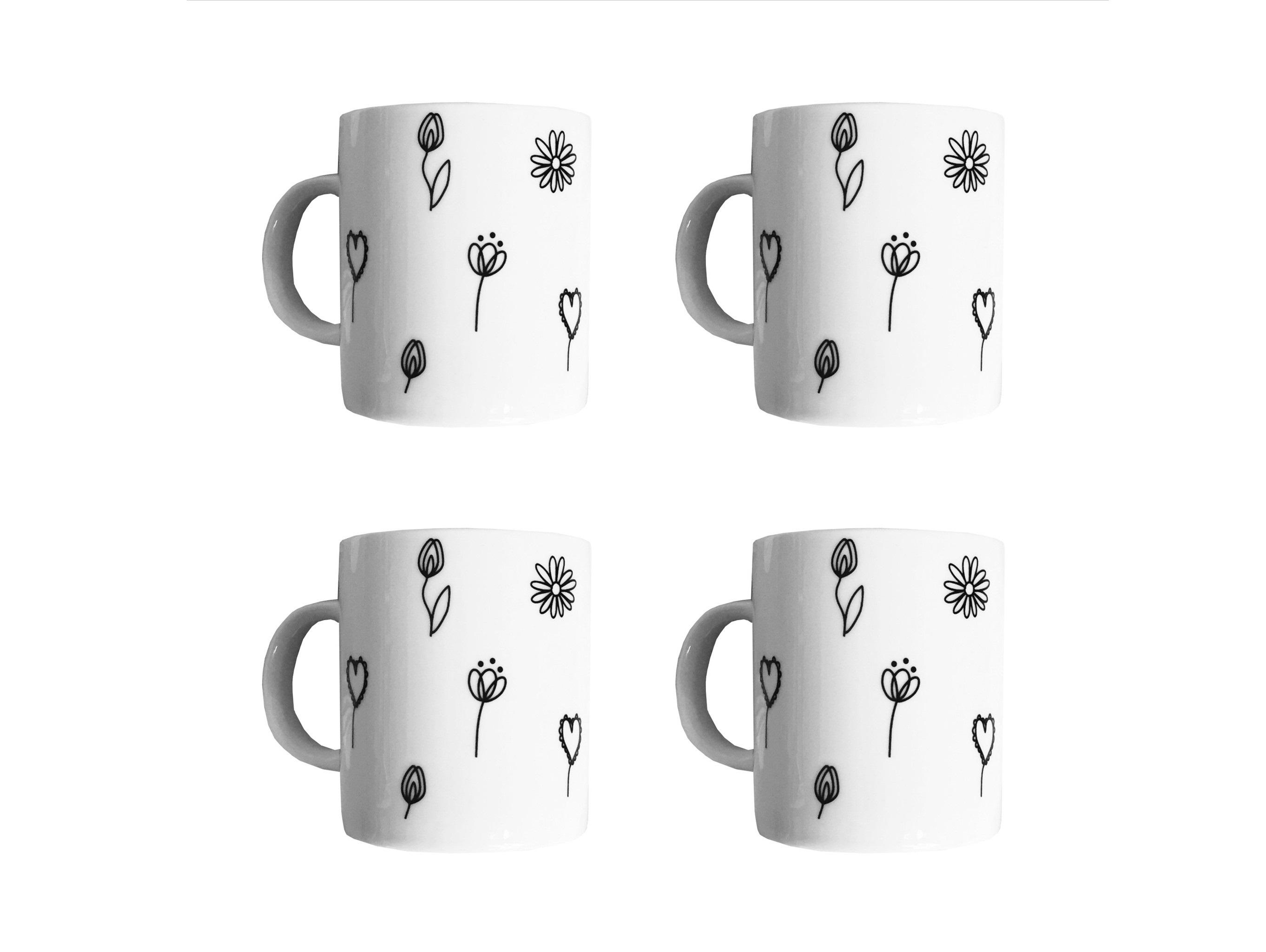 Набор кружек Черный цветок (4 шт)Чайные пары, чашки и кружки<br>Посуду можно использовать в микроволновой печи и посудомоечной машине.&amp;amp;nbsp;&amp;lt;div&amp;gt;&amp;lt;br&amp;gt;&amp;lt;/div&amp;gt;&amp;lt;div&amp;gt;В комплект входят: Кружка 300 мл - 4 шт.&amp;lt;/div&amp;gt;<br><br>Material: Фарфор<br>Высота см: 9