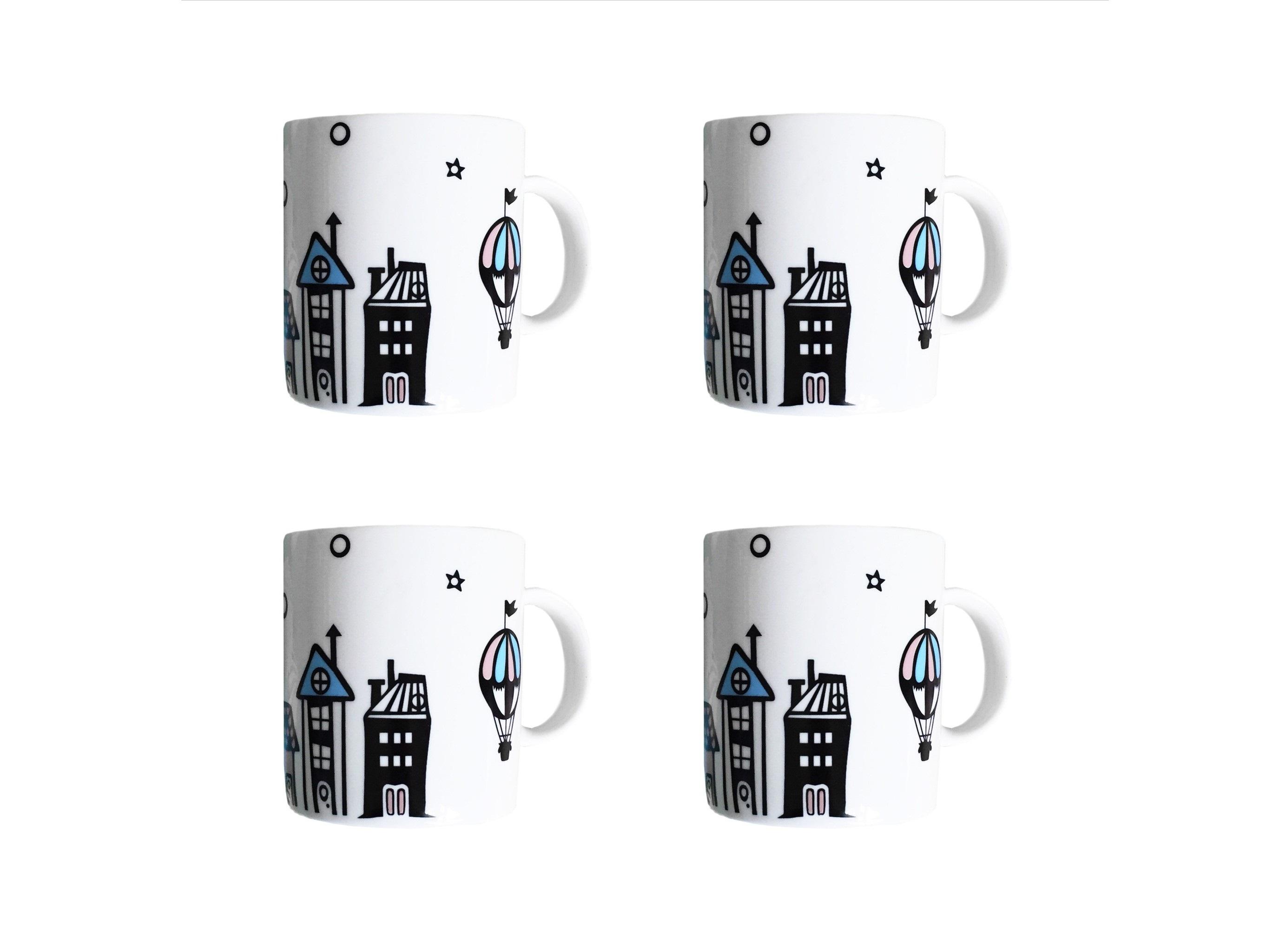 Набор кружек Воздушный город (4 шт)Чайные пары, чашки и кружки<br>Посуду можно использовать в микроволновой печи и посудомоечной машине.&amp;amp;nbsp;&amp;lt;div&amp;gt;&amp;lt;br&amp;gt;&amp;lt;/div&amp;gt;&amp;lt;div&amp;gt;В комплект входят: Кружка 300 мл - 4 шт.&amp;lt;/div&amp;gt;<br><br>Material: Фарфор<br>Высота см: 9