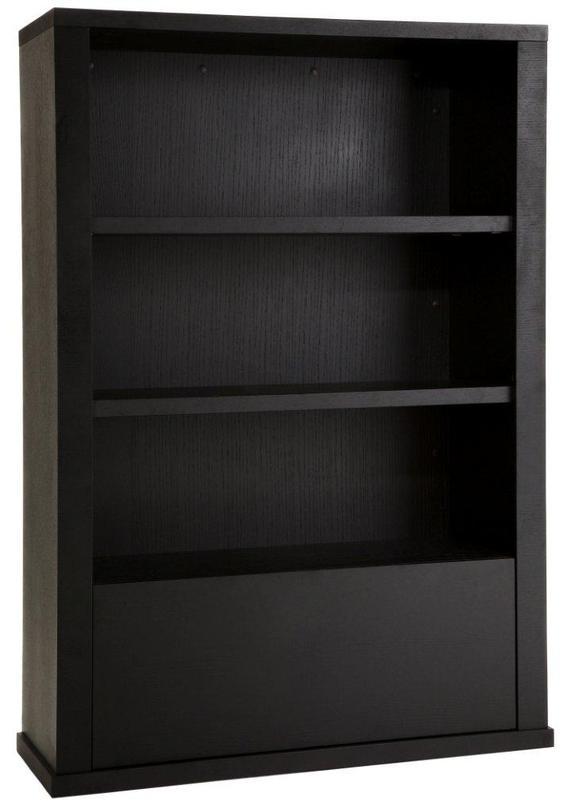 Шкаф MarvinКнижные шкафы и библиотеки<br>Шкаф в черном цвете с богатой фактурой в американском стиле. Три открытых полки предназначены для книг или аксессуаров, а нижнюю полку с дверцей можно использовать для хранения предметов, скрытых от глаз.<br><br>Material: МДФ<br>Width см: 110<br>Depth см: 40<br>Height см: 155