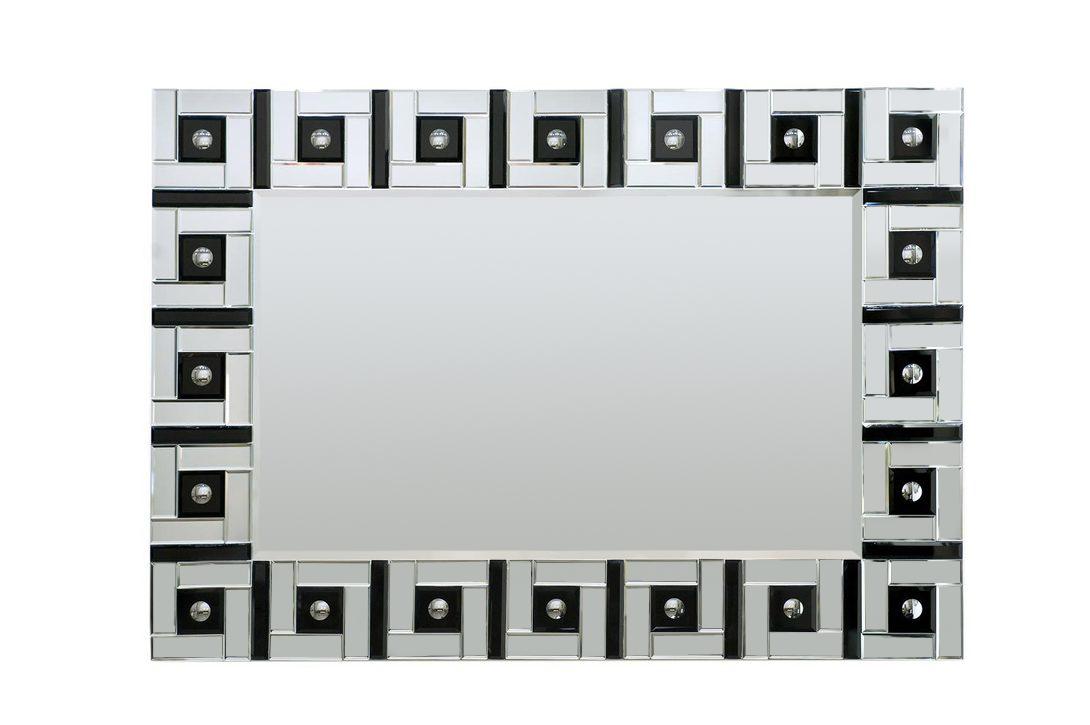 ЗеркалоНастенные зеркала<br>Зеркало в стиле американская буржуазность с оригинальной рамой из зеркальных мини-лабиринтов со стеклянными пуговицами внутри. Необходимые в быту предметы могут выглядеть шикарно и украшать интерьер.<br><br>Material: Стекло<br>Ширина см: 121<br>Высота см: 86