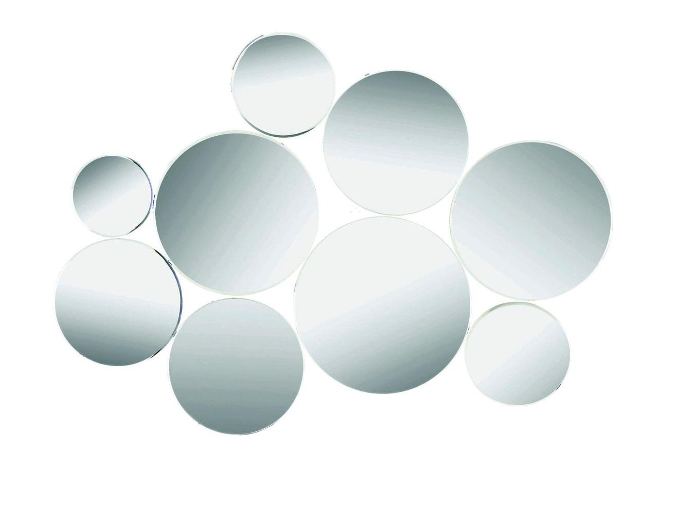 ЗеркалоНастенные зеркала<br>Сочетание круглых зеркал разного размера. Более крупные элементы расположены ближе к середине, более мелкие -- по краям. Благодаря этому композиция кажется лекой, воздушной.<br><br>Material: Стекло<br>Ширина см: 90<br>Высота см: 90<br>Глубина см: 1