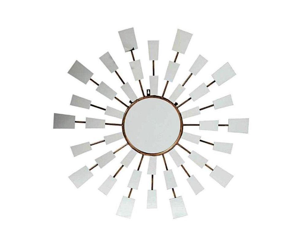 Зеркало RaysНастенные зеркала<br>Зеркало-солнце, модель эпохи ар деко, в нашем варианте с прямоугольными зеркальцами на лучах. Ударная вещь для строгого сбалансированного интерьера.<br><br>Material: Стекло<br>Ширина см: 90<br>Высота см: 3