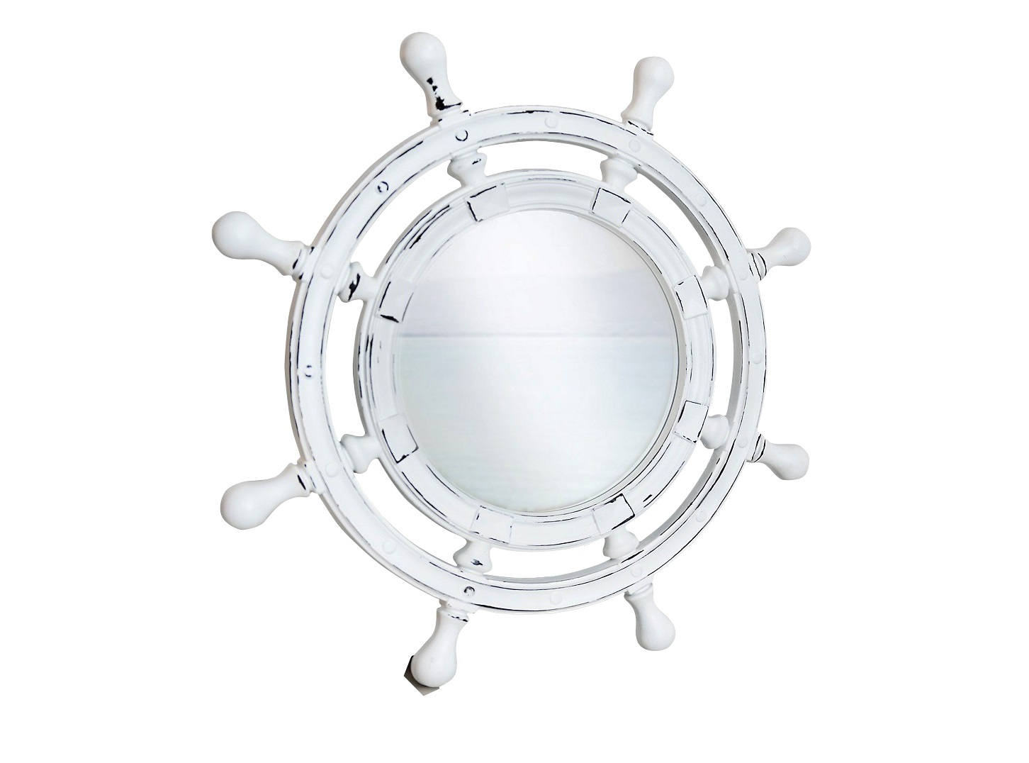 Зеркало ШтурвалНастенные зеркала<br>&amp;lt;div&amp;gt;Зеркало в форме штурвала — великолепная стилизованная вещица, окрашенная в белый цвет с характерными &amp;quot;винтажными&amp;quot; потертостями. Необычная рама изготовлена из мебельного пенополиуретана — неприхотливого, очень прочного материала, который легко повторяет любые, даже сложные текстуры, например, поверхность элитных сортов древесины. Он не боится влаги, поэтому такое зеркало можно повесить и в ванной, и на открытом воздухе.&amp;lt;/div&amp;gt;&amp;lt;div&amp;gt;&amp;lt;br&amp;gt;&amp;lt;/div&amp;gt;&amp;lt;div&amp;gt;Цвет:&amp;amp;nbsp;Белый Шебби-шик&amp;lt;/div&amp;gt;<br><br>Material: Полиуретан<br>Глубина см: 4