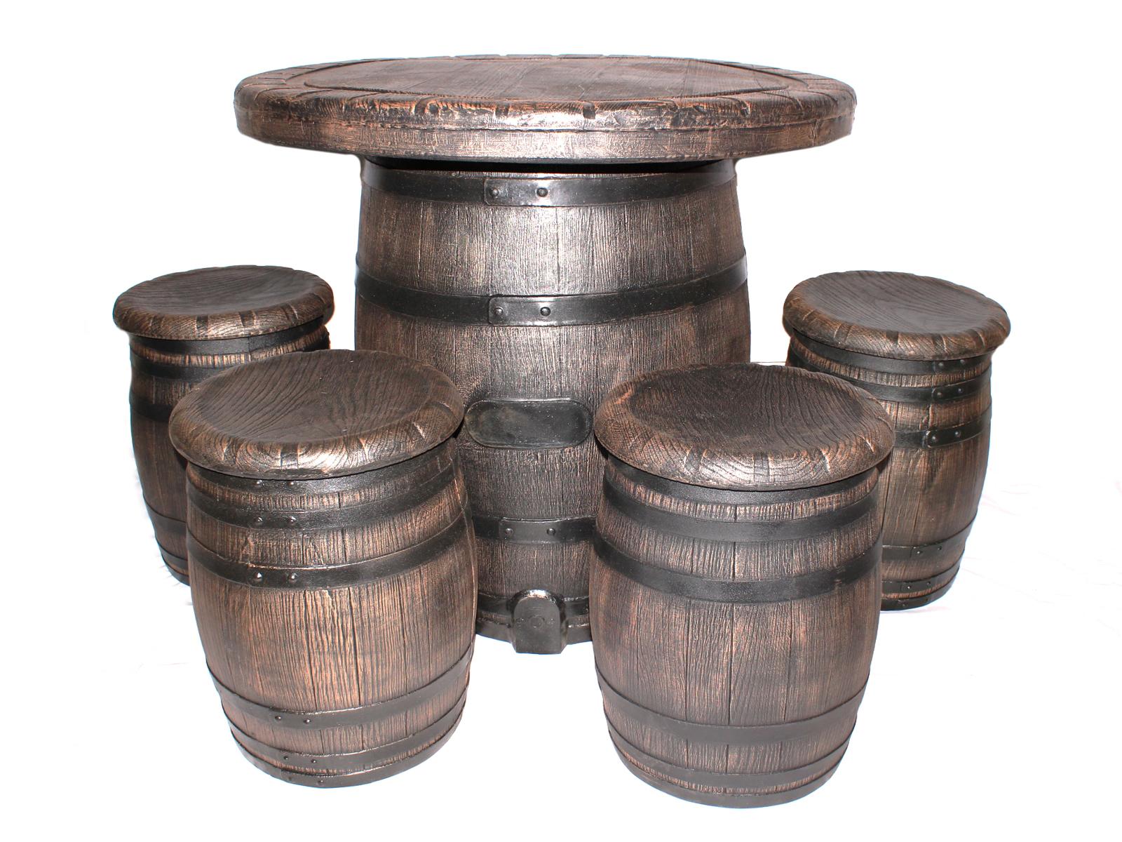 Набор мебели БочонокКомплекты уличной мебели<br>Набор мебели &amp;quot;Бочонок&amp;quot; уникальный в своем роде. Данный комплект (стол+4 табуреток) выполнен в идеальной точности имитации под дерево.&amp;amp;nbsp;&amp;lt;div&amp;gt;&amp;lt;br&amp;gt;&amp;lt;/div&amp;gt;&amp;lt;div&amp;gt;Размер стола: 100х90:, размер табурета 40х53.&amp;amp;nbsp;&amp;lt;/div&amp;gt;&amp;lt;div&amp;gt;Крышка стола накручивается на основание.&amp;lt;/div&amp;gt;<br><br>Material: Пластик