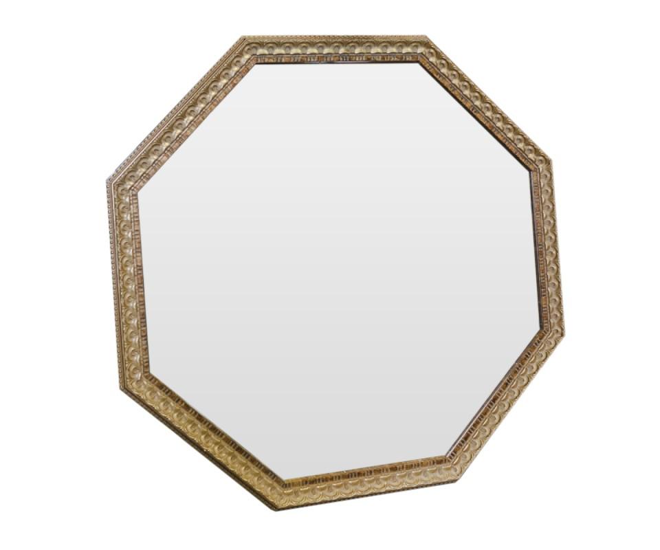 Зеркало Золотистый светНастенные зеркала<br>Благодаря гармоничному сочетанию серебряной амальгамы и золотистого оттенка рамы, обыкновенный предмет интерьера превратился в настоящее произведение искусства. Зеркало идеально дополнит интерьер прихожей, а также станет центральным элементом в оформлении гостиной или спальни хозяев дома.<br><br>Material: Полиуретан<br>Ширина см: 97<br>Высота см: 97<br>Глубина см: 5