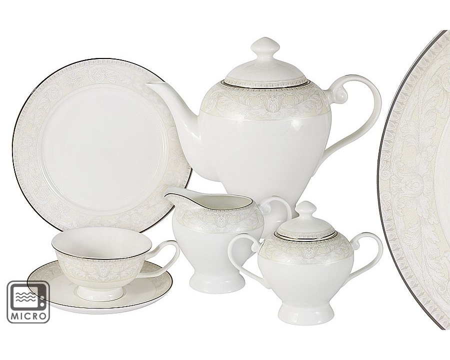Чайный сервиз Белгравия 21 предмет на 6 персонЧайные сервизы<br>В набор входят: 6 чашек 0,175л, 6 блюдец; 6 тарелок 21см, чайник 1,2л, сахарница 0,35л, молочник 0,35л.<br><br>Material: Фарфор