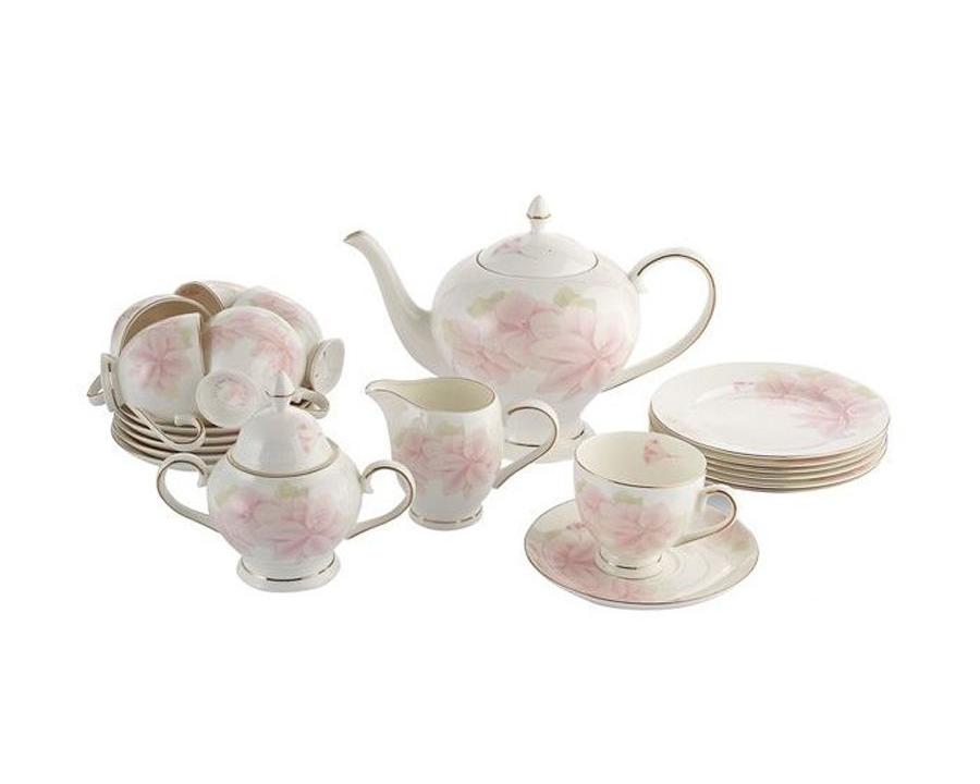 Чайный сервиз Розовые цветы 21 предмет на 6 персонЧайные сервизы<br>&amp;lt;div&amp;gt;В набор входят: 6 десерт тарелок 18 см; 6 чашек 0,2л; сливочник 0,3л; чайник 1,5л, сахарница 0,35л.&amp;lt;/div&amp;gt;&amp;lt;div&amp;gt;&amp;lt;br&amp;gt;&amp;lt;/div&amp;gt;<br><br>Material: Фарфор