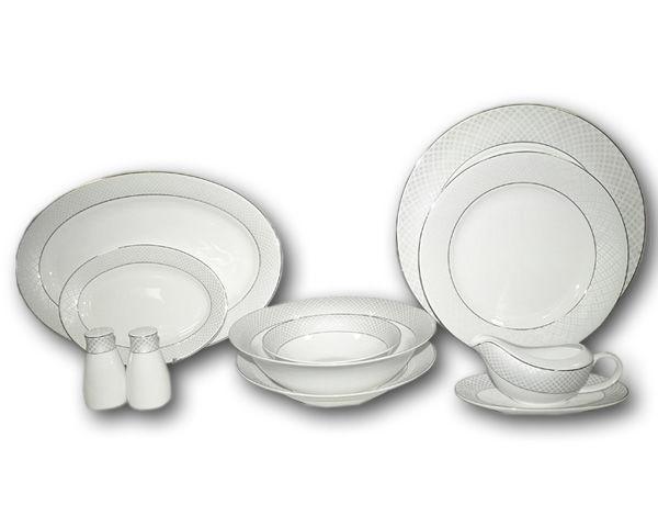 Обеденный сервиз Элеганс 50 предметов на 12 персонСтоловые сервизы<br>&amp;lt;div&amp;gt;В набор входят: 12 обеденныхых тарелок 25,5см, 12 суповых тарелок 23см, 12 закусочных тарелок 21см, 2 салатника 23см, 4 салатника 16,5см, 2 блюда 36,5см ,2 блюда 23,5 см, соусник+блюдо под него, набор для специйл.&amp;lt;/div&amp;gt;&amp;lt;div&amp;gt;&amp;lt;br&amp;gt;&amp;lt;/div&amp;gt;<br><br>Material: Фарфор