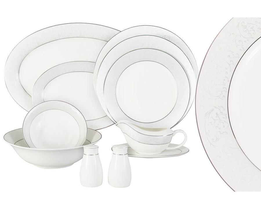 Обеденный сервиз Мелисента 50 предметов на 12 персонСтоловые сервизы<br>&amp;lt;div&amp;gt;В набор входят: 12 обеденныхых тарелок 25,5см, 12 суповых тарелок 23см, 12 закусочных тарелок 21см, 2 салатника 23см, 4 салатника 16,5см, 2 блюда 36,5см ,2 блюда 23,5 см, соусник+блюдо под него, набор для специй.&amp;lt;/div&amp;gt;&amp;lt;div&amp;gt;&amp;lt;br&amp;gt;&amp;lt;/div&amp;gt;<br><br>Material: Фарфор