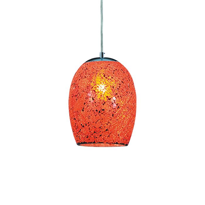 Подвесной светильник MOSAICПодвесные светильники<br>Площадь освещения: 3 м2<br>Мощность: 60 W (Ватт)<br>Тип цоколя: E27<br>Варианты цветов:<br>Оранжевый (A8063SP-1CC)<br>Хром (A8062SP-1CC)<br>Красный (A8061SP-1CC)<br><br>Material: Металл<br>Height см: 25<br>Diameter см: 18