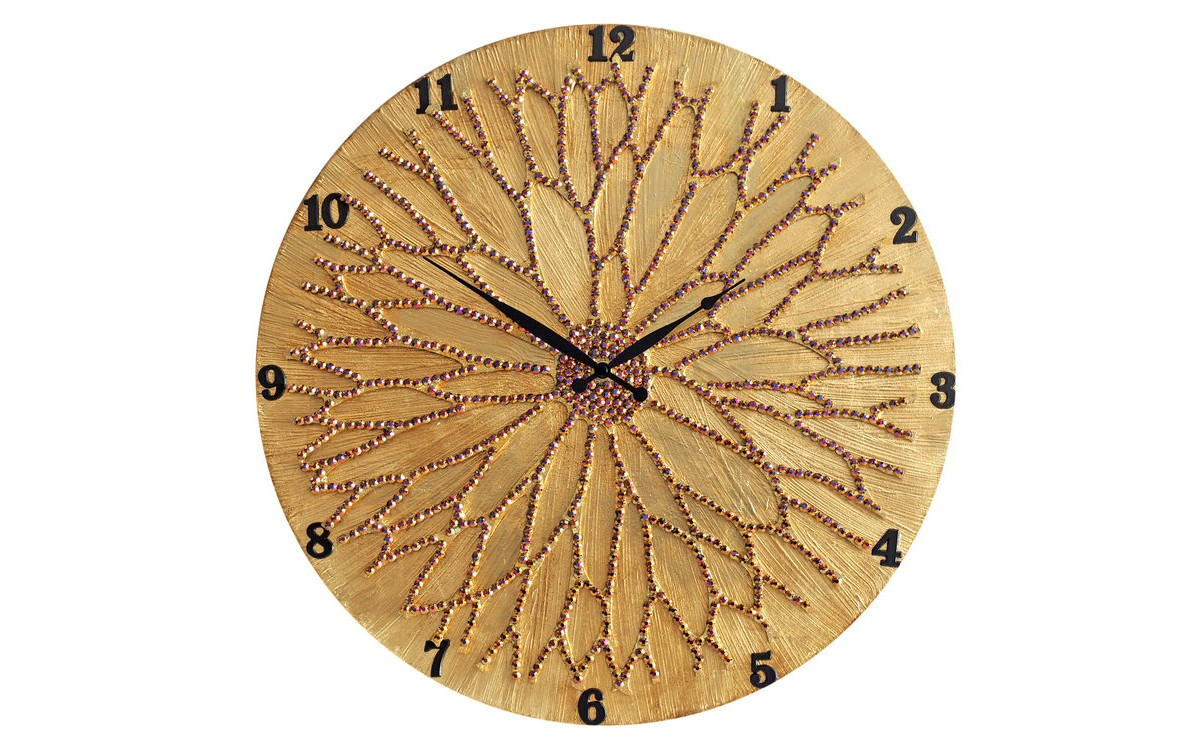 Настенные часы ЦветокНастенные часы<br>Настенные часы коллекции «Цветок» - подлинное произведение искусства. Они преобразят абсолютно любой интерьер, создадут гармонию, наделят помещение изысканностью, и заставят на стене расцвести роскошный райский цветок. Создается ощущение, что при создании не обошлось без пыльцы фей: настолько волшебно переливается покрытие из страз.Настенные часы коллекции «Цветок» способны стать идеальным подарком. Их выбирают на все торжественные случаи жизни, а также – когда нужно преподнести что-то роскошное и выполненное с изысканным вкусом. <br>&amp;lt;div&amp;gt;&amp;lt;br&amp;gt;&amp;lt;/div&amp;gt;&amp;lt;div&amp;gt;Материал&amp;lt;span class=&amp;quot;Apple-tab-span&amp;quot; style=&amp;quot;white-space:pre&amp;quot;&amp;gt;&amp;lt;/span&amp;gt;Дерево, акриловая краска, стразы серебряного цвета, серебряная поталь, патина, кварцевый часовой механизм механизм&amp;lt;br&amp;gt;&amp;lt;/div&amp;gt;<br><br>Material: Красное дерево<br>Diameter см: 50