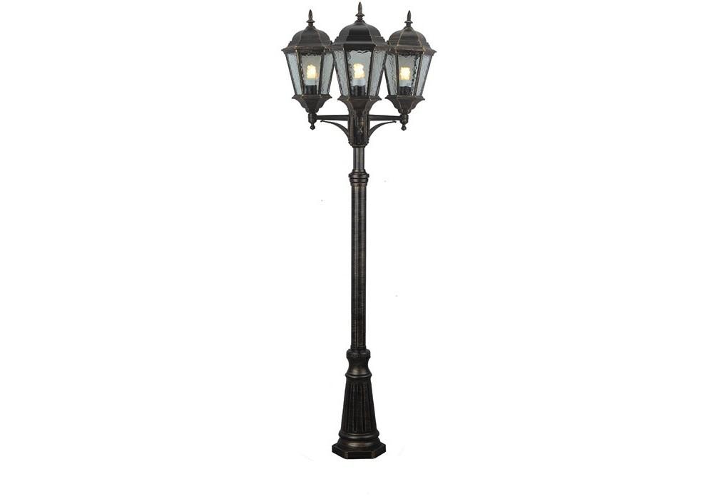 Светильник наземный GenovaУличные наземные светильники<br>Мощность: 100W<br>Количество патронов: 3<br>Патрон: E27<br>Напряжение: 220V<br>Материал: алюминий, стекло<br>Цвет арматуры: черно-золотой<br><br>Material: Алюминий<br>Высота см: 230