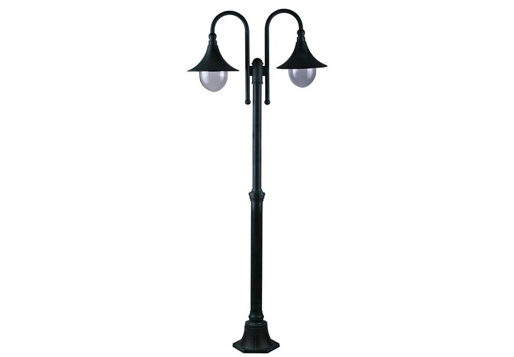 Светильник наземный MalagaУличные наземные светильники<br>Мощность: 100W<br>Количество патронов: 2<br>Патрон: E27<br>Напряжение: 220V<br>Материал: алюминий, пластик<br><br>Material: Алюминий<br>Высота см: 230