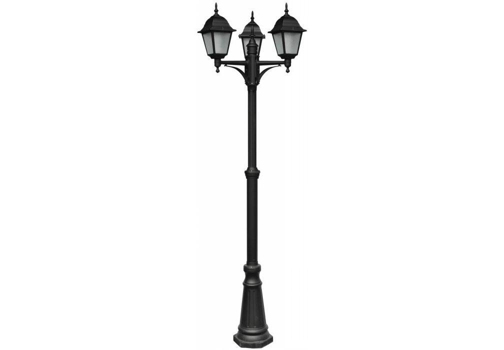 Светильник наземный BremenУличные наземные светильники<br>Мощность: 60W<br>Количество патронов: 3<br>Патрон: E27<br>Напряжение: 220V<br>Материал: алюминий, узорчатое стекло<br>Цвет: черный, прозрачный<br><br>Material: Алюминий<br>Высота см: 230