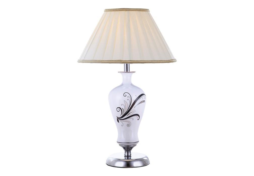 Настольная лампа VeronikaДекоративные лампы<br>Настольная лампа в стиле французский шик с керамическим основанием, украшенным росписью с цветочным узором и текстильным абажуром традиционной формы. Прекрасный аксессуар для благородных классических интерьеров.&amp;amp;nbsp;&amp;lt;div&amp;gt;&amp;lt;br&amp;gt;&amp;lt;/div&amp;gt;&amp;lt;div&amp;gt;&amp;amp;nbsp;Вид цоколя: E14. Мощность: 40W. Количество ламп: 1.&amp;lt;/div&amp;gt;<br><br>Material: Текстиль<br>Высота см: 50