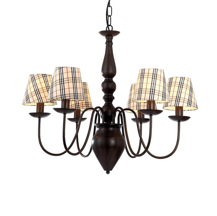 Люстра ScotchЛюстры подвесные<br>&amp;lt;div&amp;gt;6-рожковая классическая люстра в шотландском стиле: абажуры &amp;quot;наряжены&amp;quot; в клетчатые тартаны. Основание изготовлено из металла и окрашено в темно-коричневый цвет. В каждом плафоне по цоколю типа Е14, в который можно вкрутить лампу мощностью 40 Вт.&amp;lt;/div&amp;gt;<br><br>Material: Металл<br>Высота см: 57