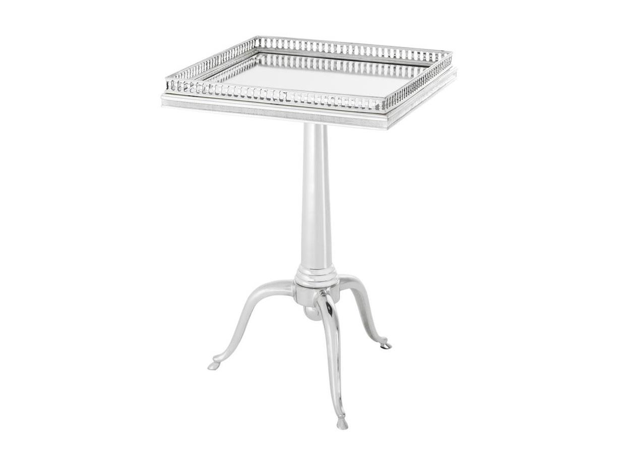 Столик EmilianoКофейные столики<br>Столик &amp;quot;Side Table Emiliano&amp;quot; выполнен из металла серебряного цвета. Столешница из плотного зеркального стекла.&amp;lt;div&amp;gt;&amp;lt;br&amp;gt;&amp;lt;/div&amp;gt;&amp;lt;div&amp;gt;Высота столика регулируется от 61 до 71 см.&amp;lt;/div&amp;gt;<br><br>Material: Металл<br>Ширина см: 40<br>Высота см: 61<br>Глубина см: 40