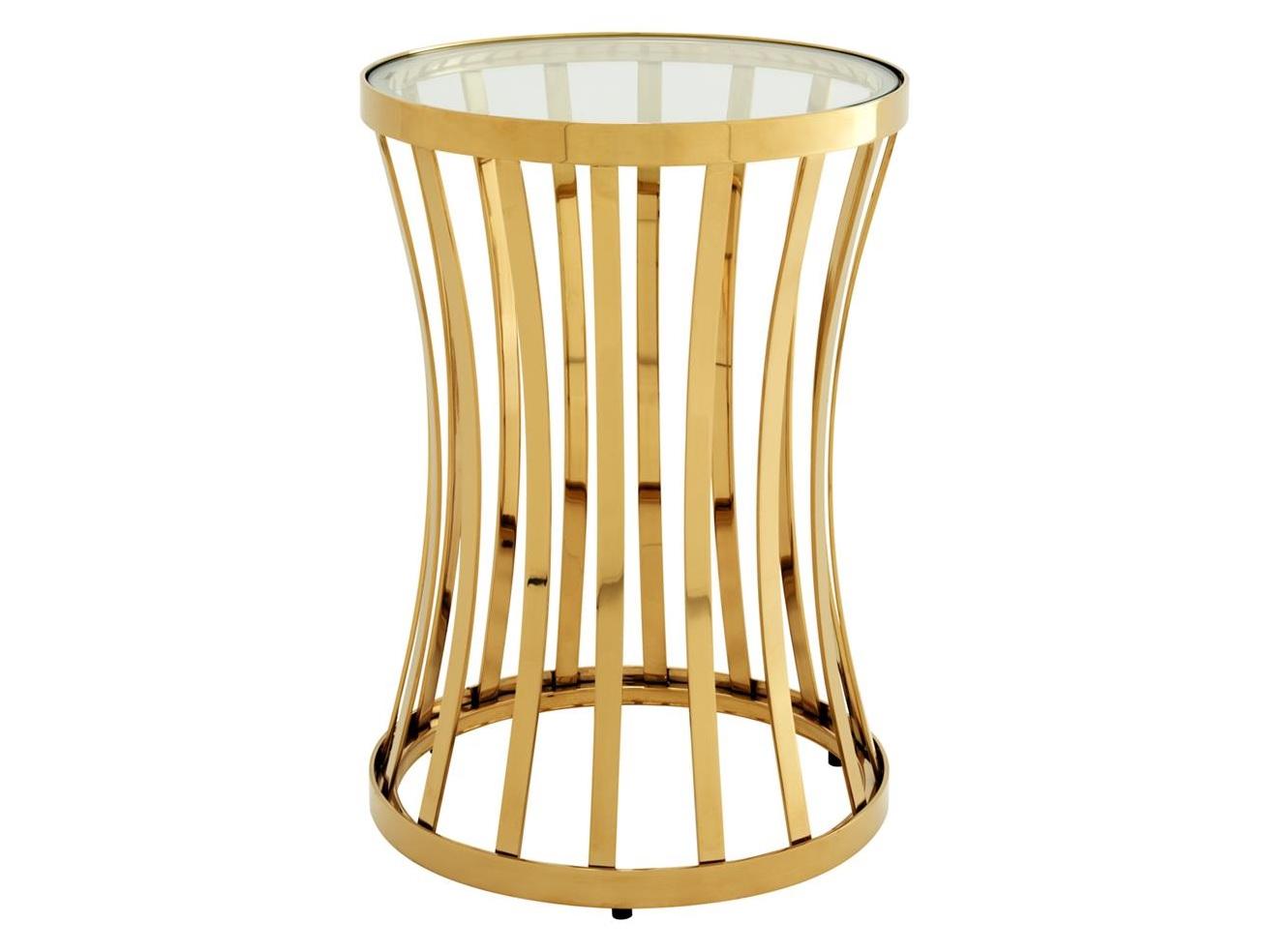 Столик Side Table ChiltonПриставные столики<br>Столик &amp;quot;Side Table Chilton&amp;quot; выполнен из металла золотого цвета. Столешница из плотного прозрачного стекла.<br><br>Material: Металл<br>Height см: 59<br>Diameter см: 40