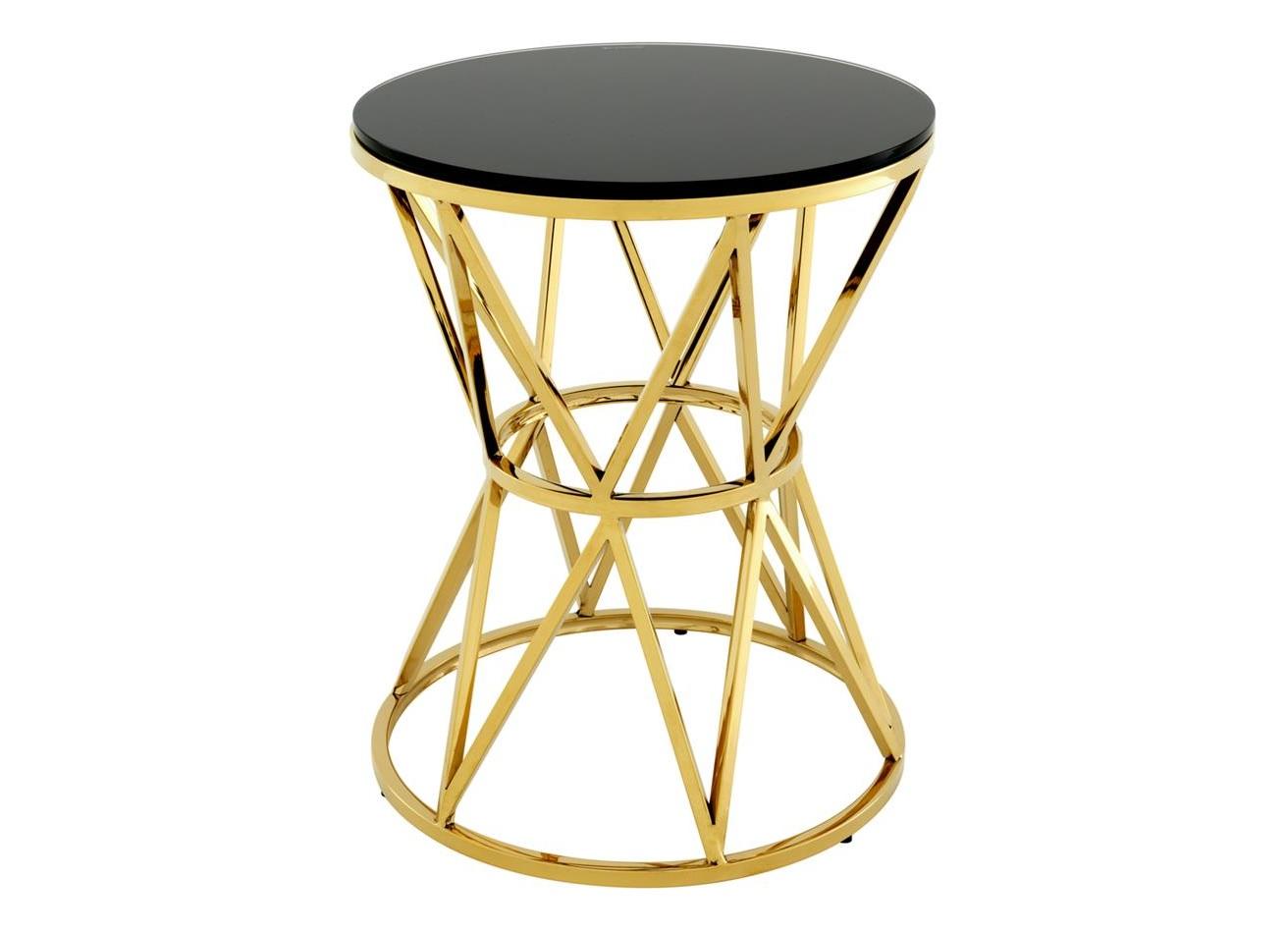 Столик DomingoКофейные столики<br>Столик &amp;quot;Domingo&amp;quot; выполнен из металла золотого цвета. Столешница из плотного черного стекла.<br><br>Material: Металл<br>Высота см: 55