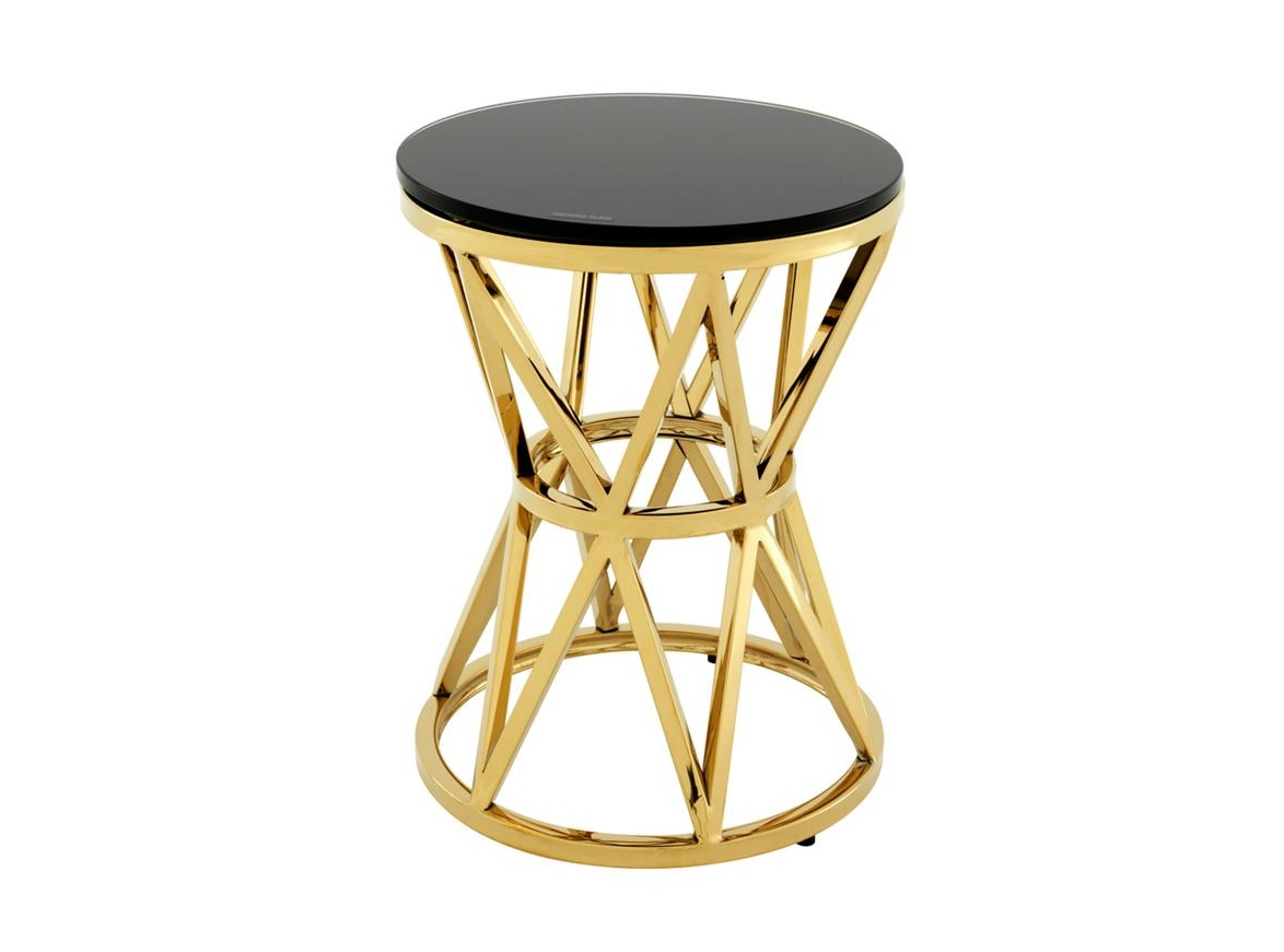 Столик DomingoКофейные столики<br>Столик &amp;quot;Domingo&amp;quot; выполнен из металла золотого цвета. Столешница из плотного черного стекла.<br><br>Material: Металл<br>Height см: 39<br>Diameter см: 29