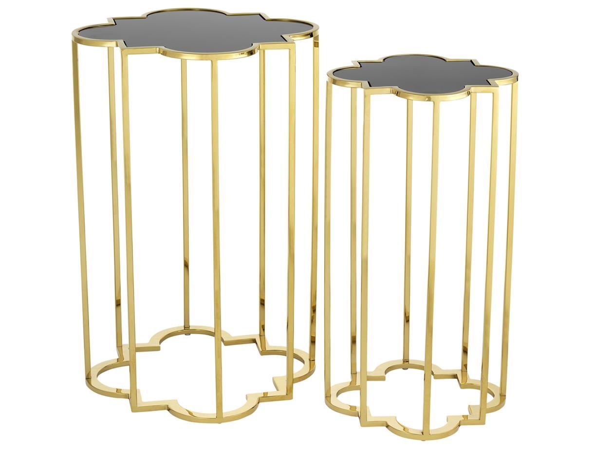 Комплект столиков Concentric (2 шт)Приставные столики<br>Комплект из двух столиков &amp;quot;Concentric&amp;quot; выполнен из металла золотого цвета. Столешницы из плотного стекла черного цвета.&amp;lt;div&amp;gt;&amp;lt;br&amp;gt;&amp;lt;/div&amp;gt;&amp;lt;div&amp;gt;&amp;lt;div&amp;gt;Размер большого столика: 60 х 40 х 40 см&amp;lt;/div&amp;gt;&amp;lt;div&amp;gt;Размер маленького столика: 55 х 30 х 30 см&amp;lt;/div&amp;gt;&amp;lt;/div&amp;gt;<br><br>Material: Металл<br>Ширина см: 40<br>Высота см: 60<br>Глубина см: 40
