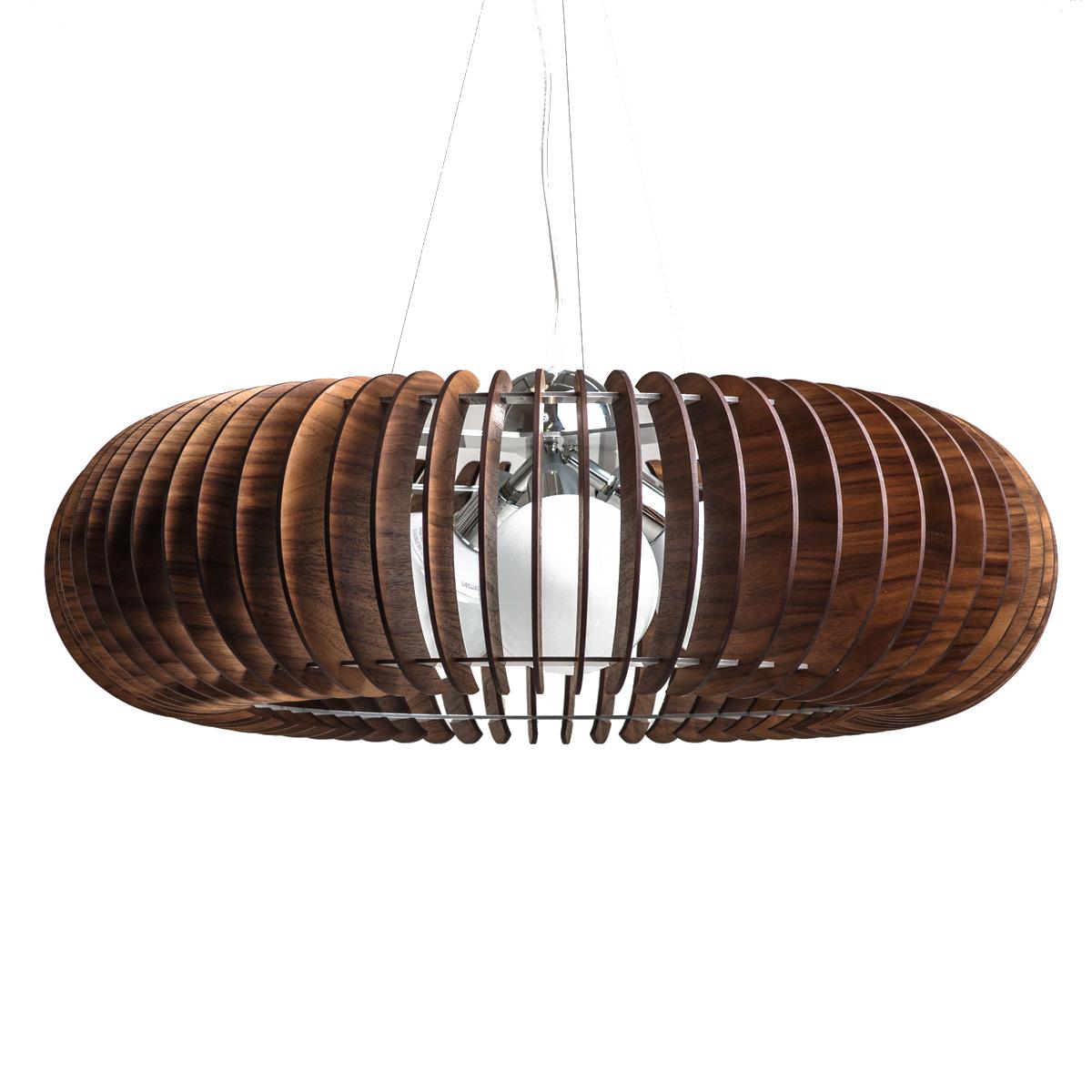 Люстра СпутникПодвесные светильники<br>Элегантная открытая форма люстры позволяет монтировать ее в разных помещениях как по стилю, так и по площади. Использование деревянных ламелей в сочетании с хромированной фурнитурой предают светильнику орбитальную невесомость.&amp;lt;div&amp;gt;&amp;lt;br&amp;gt;&amp;lt;/div&amp;gt;&amp;lt;div&amp;gt;&amp;lt;div&amp;gt;Тип цоколя: E27&amp;lt;/div&amp;gt;&amp;lt;div&amp;gt;Мощность: 60W&amp;lt;/div&amp;gt;&amp;lt;div&amp;gt;Кол-во ламп: 3 (нет в комплекте)&amp;lt;/div&amp;gt;&amp;lt;/div&amp;gt;<br><br>Material: Шпон<br>Height см: 22<br>Diameter см: 65