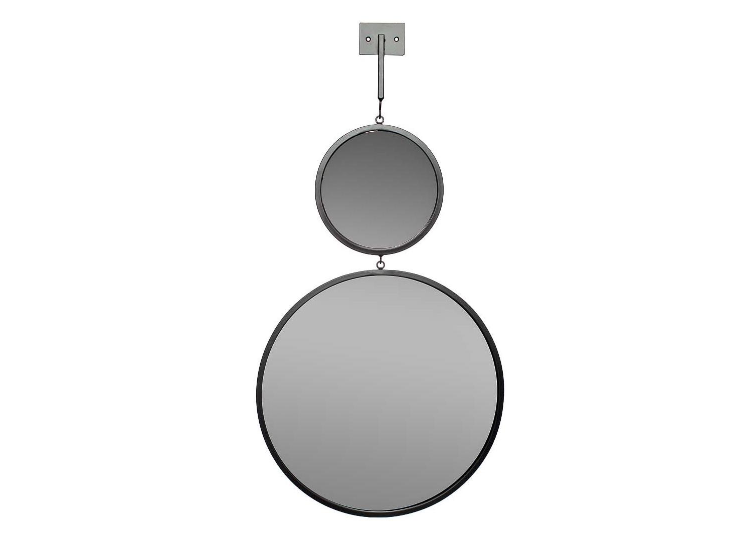 ЗеркалоНастенные зеркала<br>диаметр большого зеркала - 40 см, маленького зеркала - 20 см, высота планки - 15 см<br><br>Material: Металл<br>Ширина см: 40<br>Высота см: 75